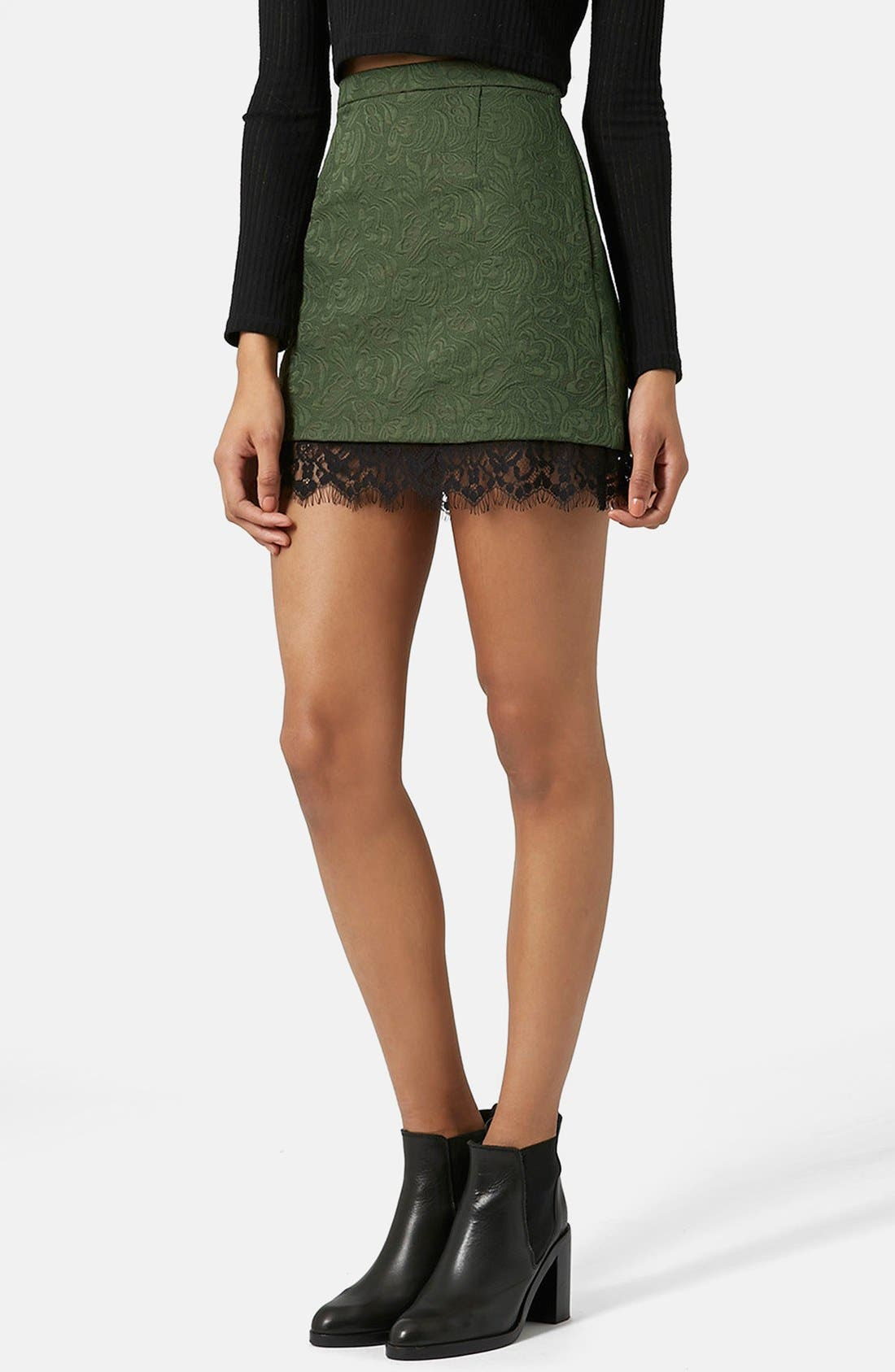 Alternate Image 1 Selected - Topshop Textured Lace Pelmet Skirt