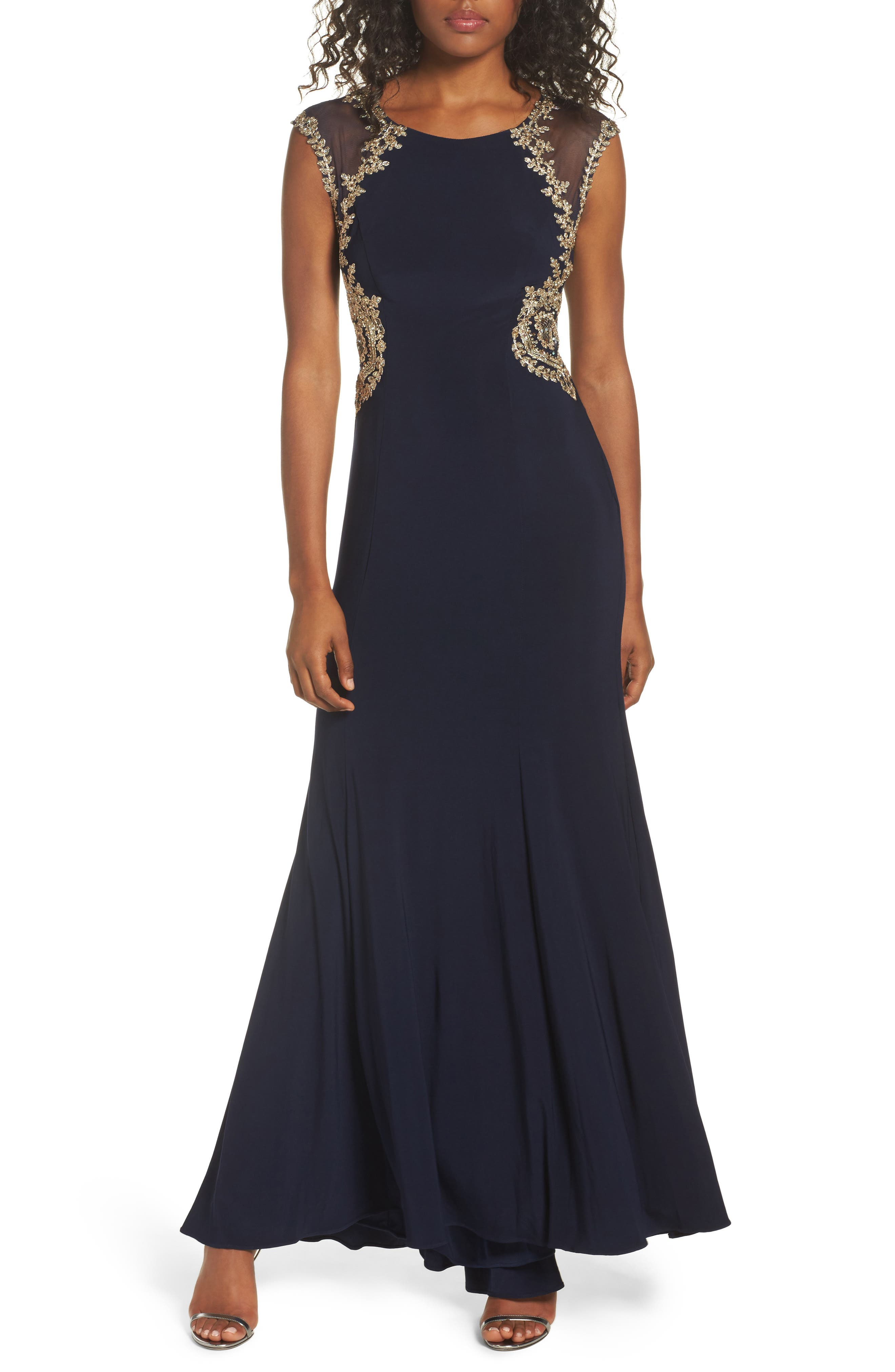 Embellished Jersey Gown,                         Main,                         color, Navy/ Gold