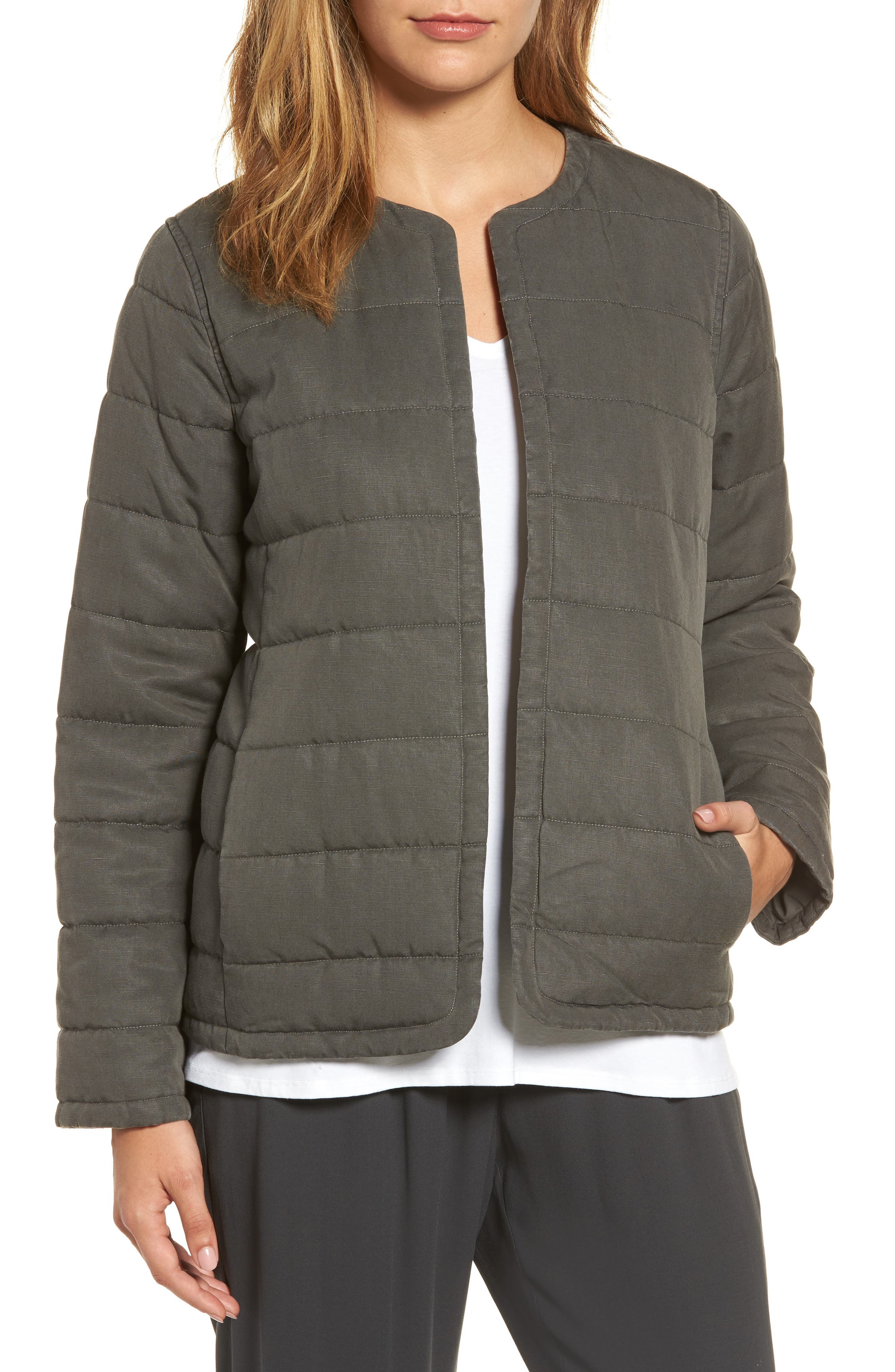Collarless Quilted Jacket,                         Main,                         color, Bark