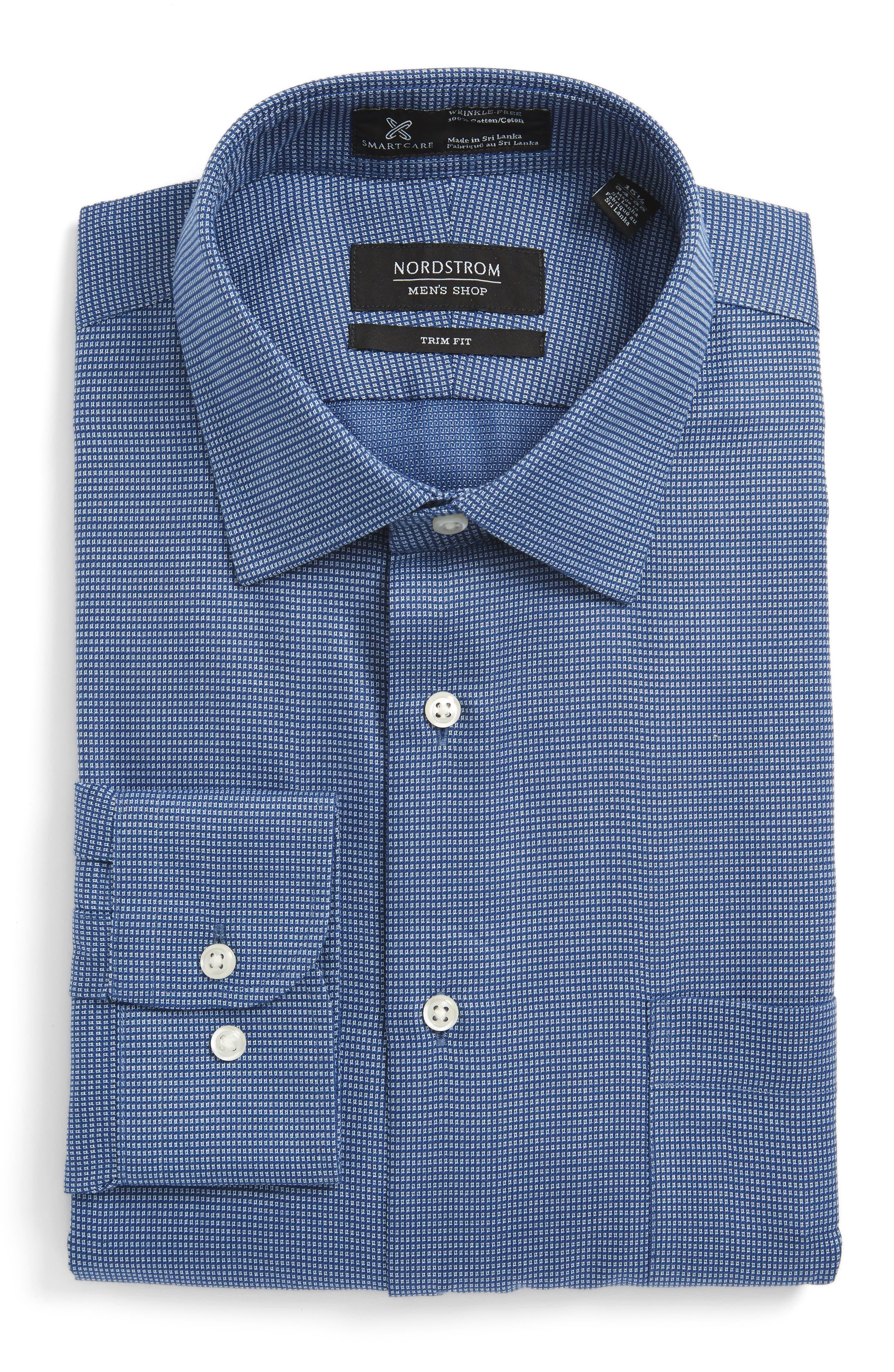Smartcare<sup>™</sup> Trim Fit Check Dress Shirt,                         Main,                         color, Blue Canal