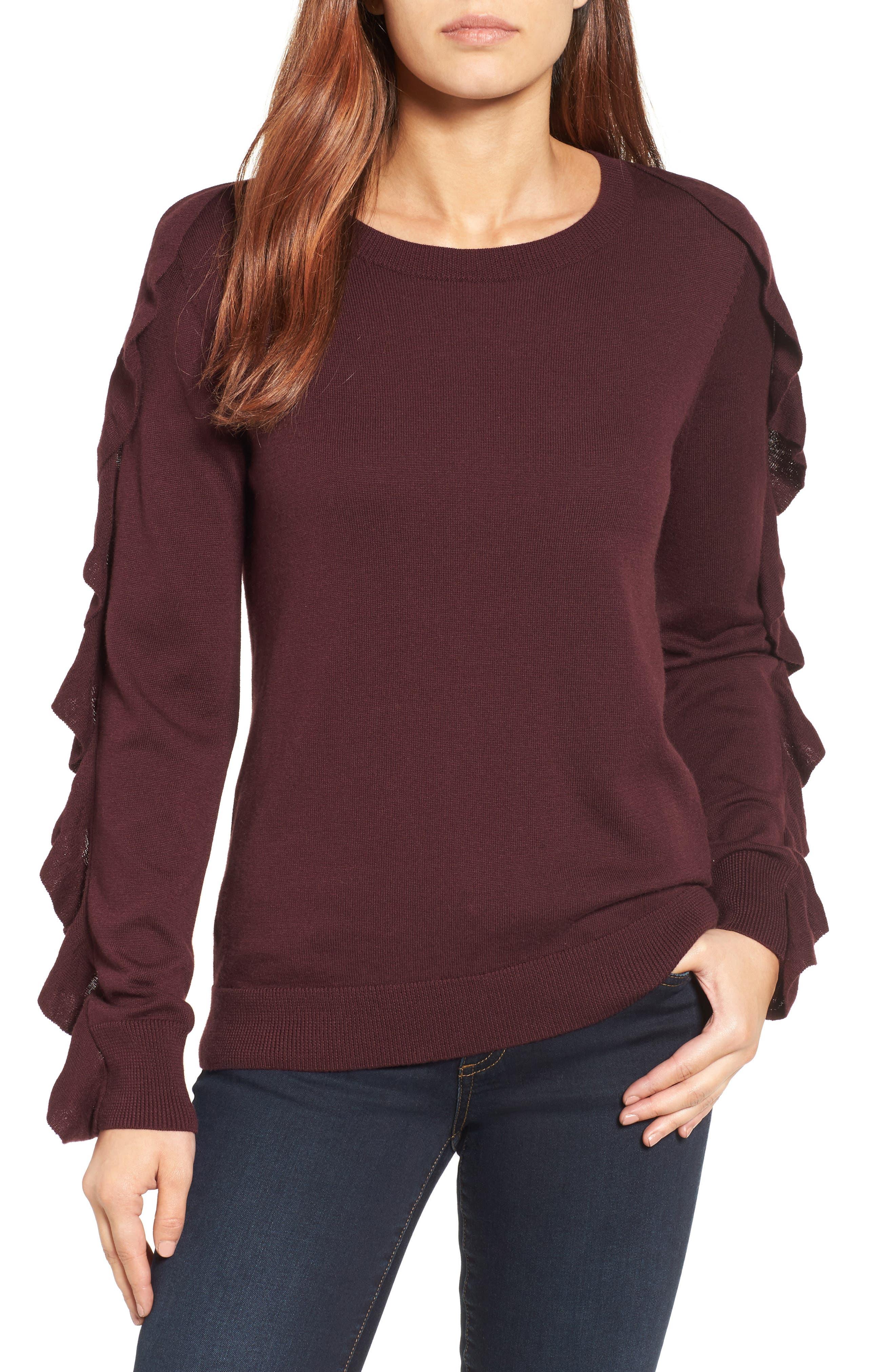 Halogen® Ruffle Sleeve Sweater (Regular & Petite)