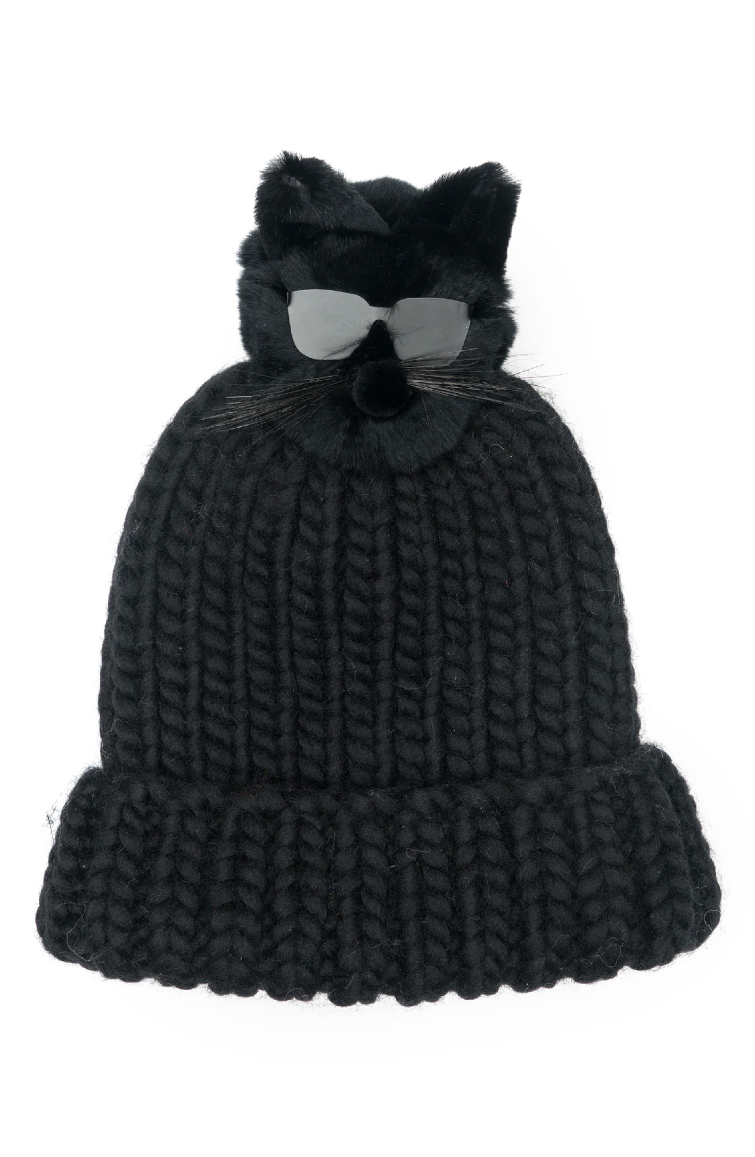 Rain Wool Stocking Cap with Genuine Fox Fur Pom,                             Main thumbnail 1, color,                             Black