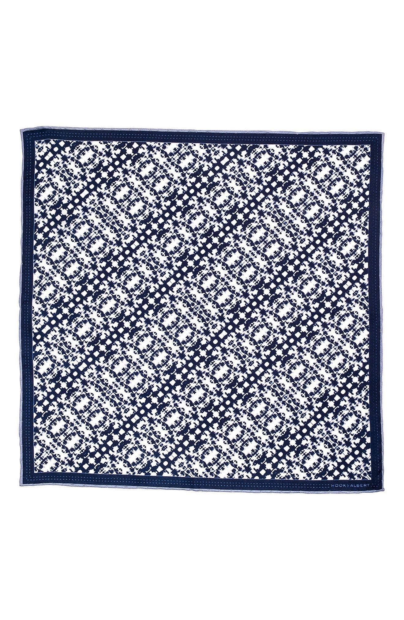 Batik Patterned Silk Pocket Square,                             Alternate thumbnail 2, color,                             Navy