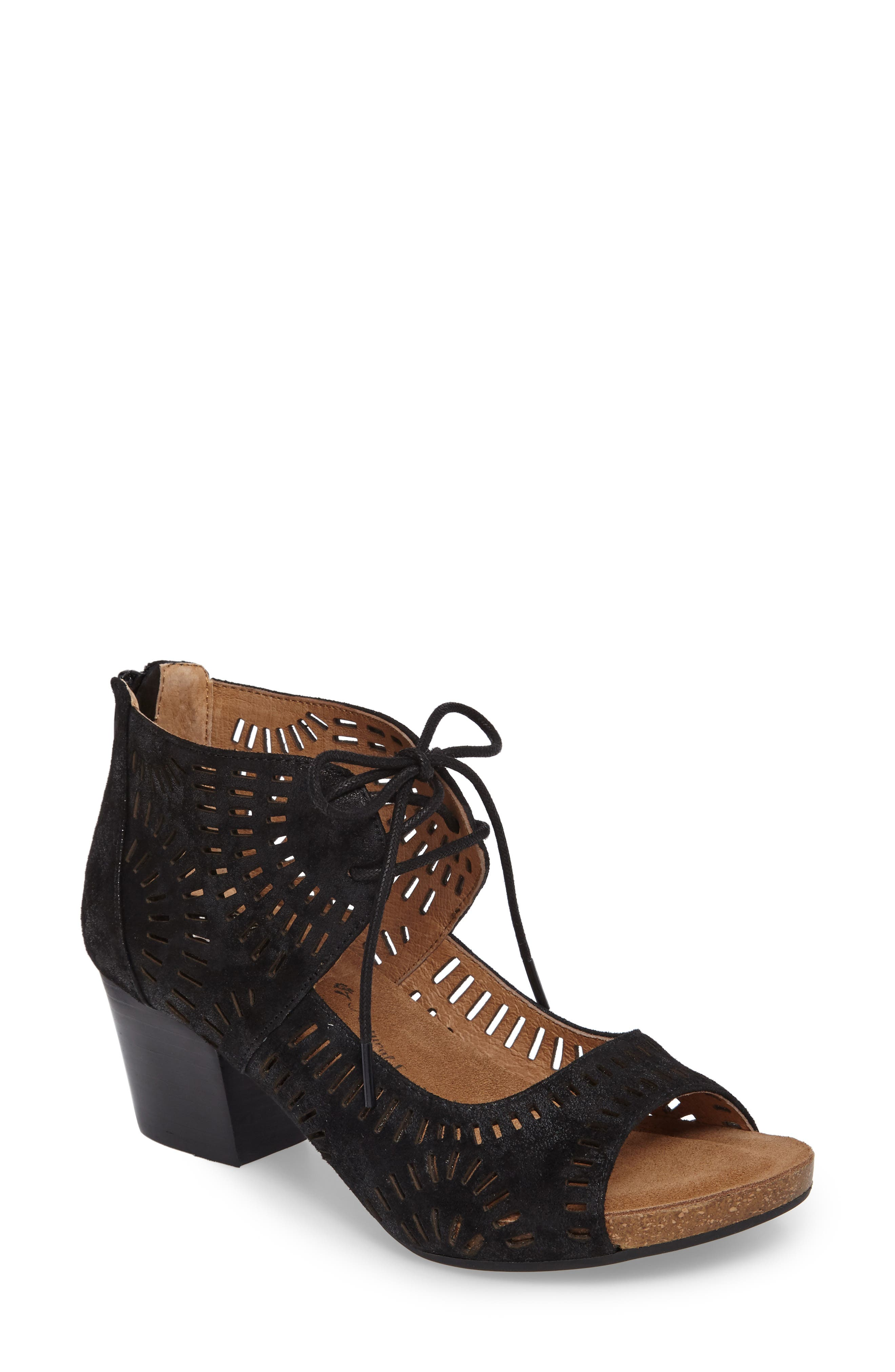 Modesto Perforated Sandal,                             Main thumbnail 1, color,                             Black Distressed Foil Suede