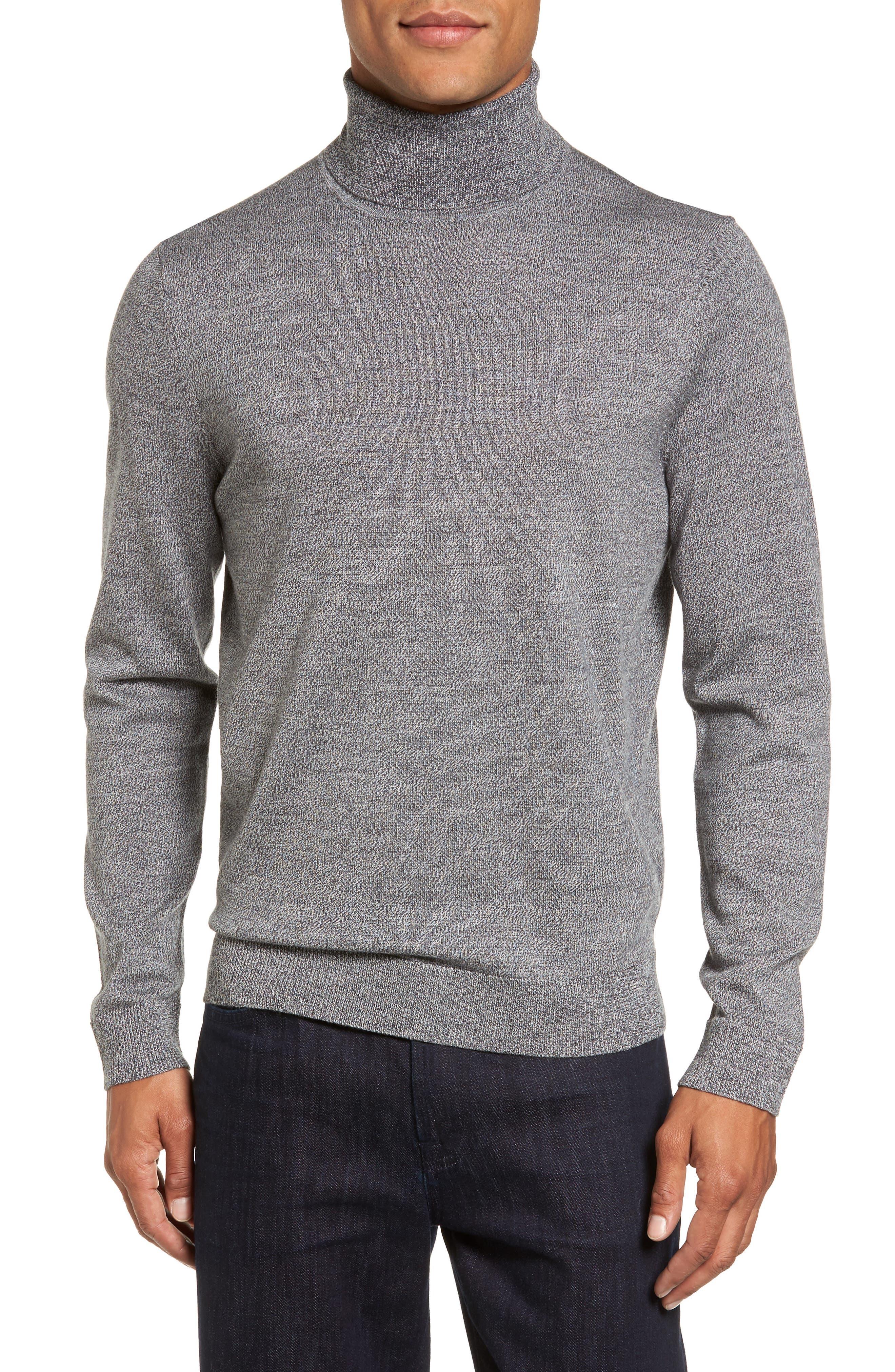 Merino Wool Turtleneck Sweater,                             Main thumbnail 1, color,                             Grey Shade Marl