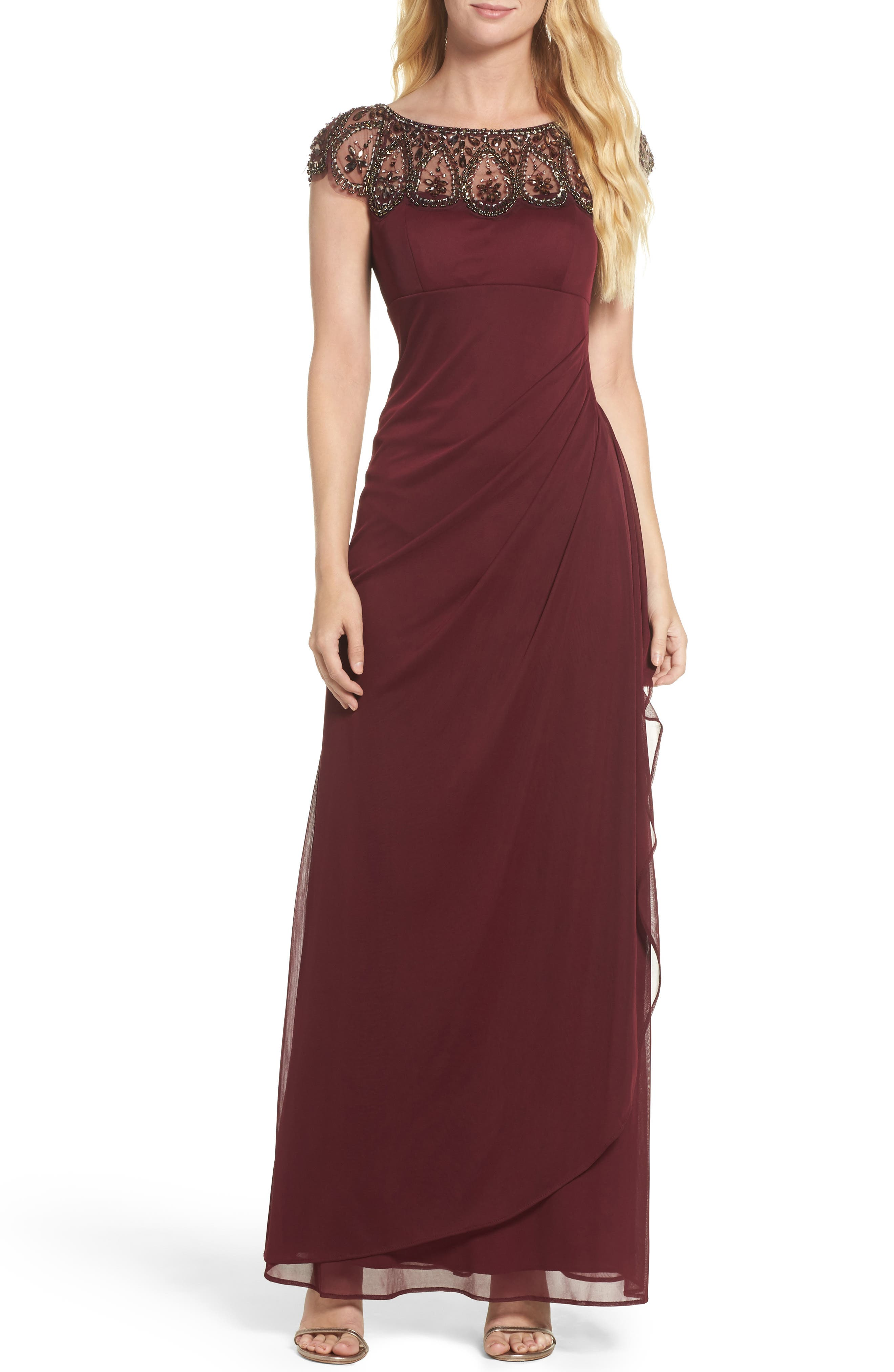 Ruched Jersey Gown,                         Main,                         color, Wine/ Antique