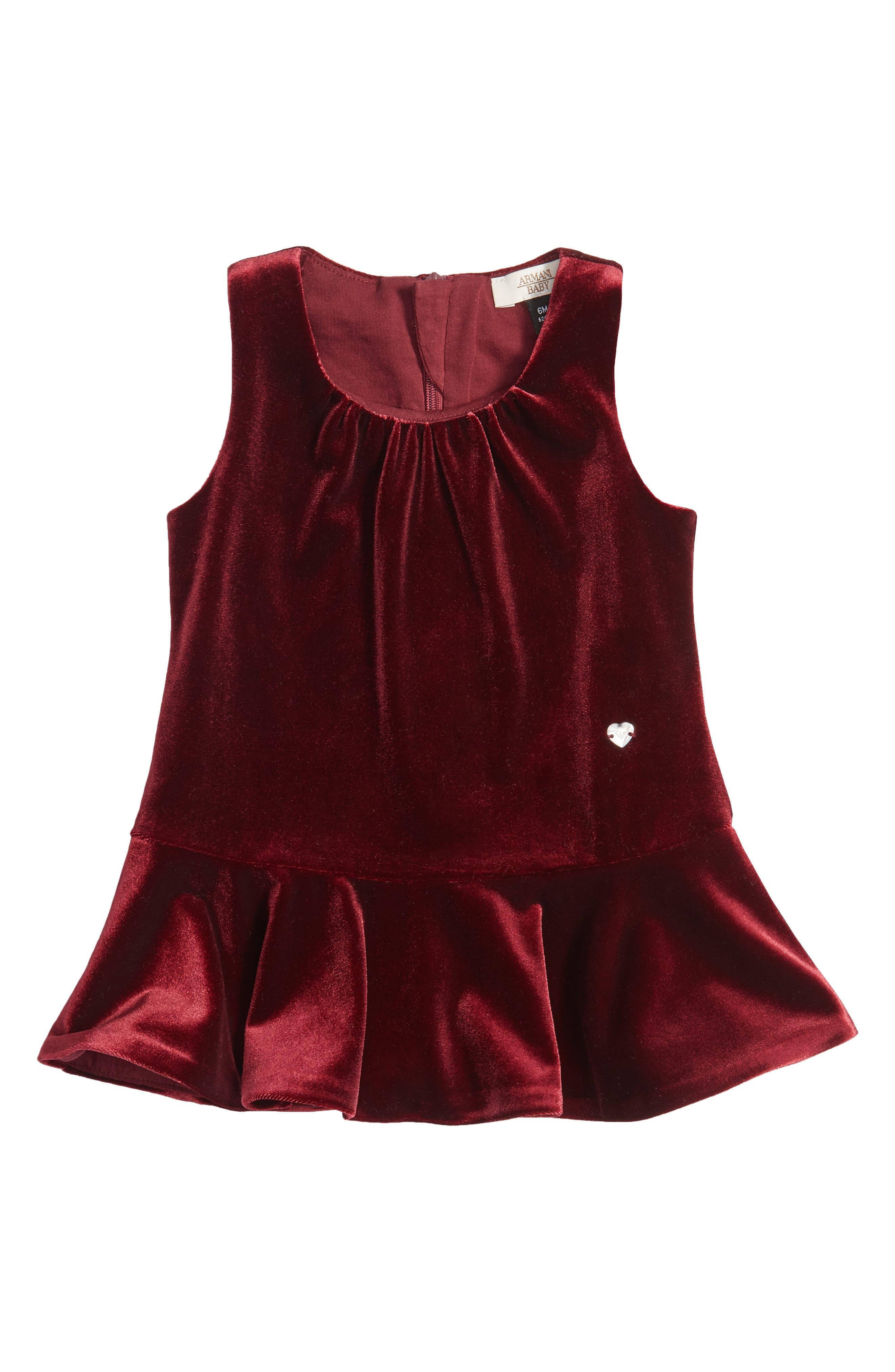 Armani Junior Velvet Drop Waist Dress (Baby Girls)
