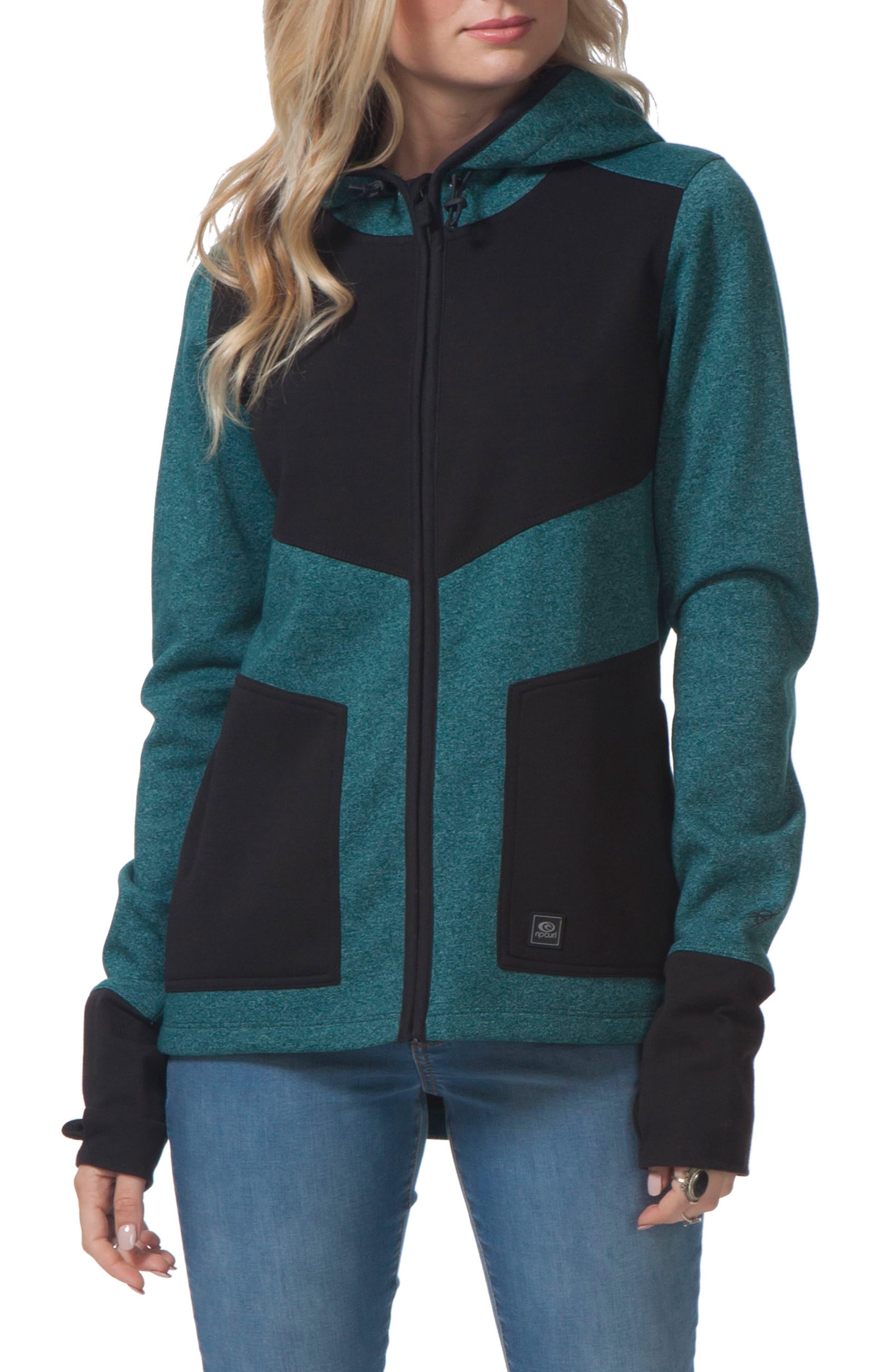 Espy Anti Series Hooded Jacket,                         Main,                         color, Dark Teal