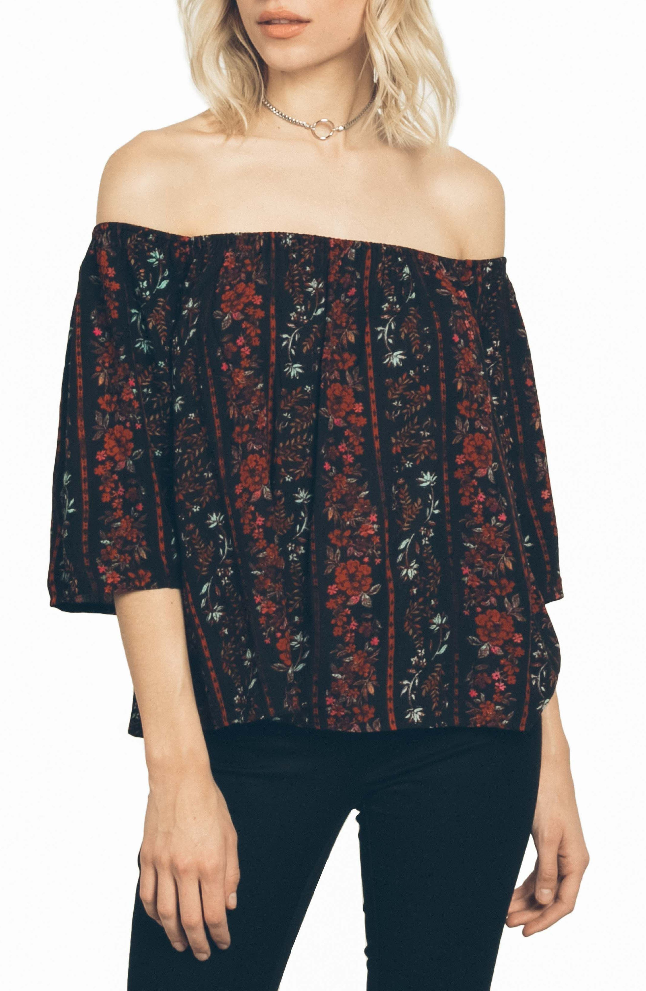 Fresh As Off the Shoulder Top,                         Main,                         color, Black Combo