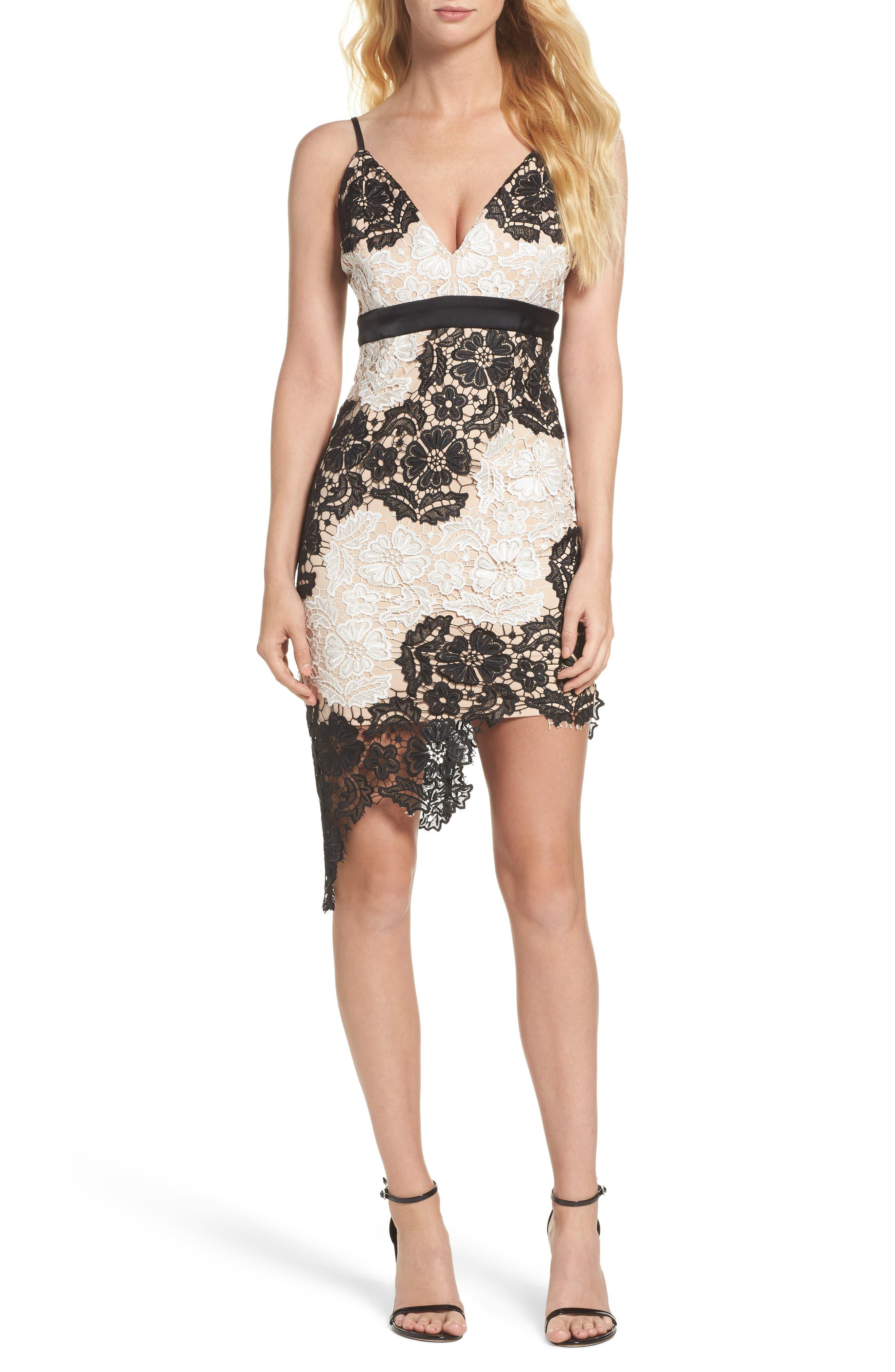 Eve Lace Sheath Dress,                         Main,                         color, Black/ White