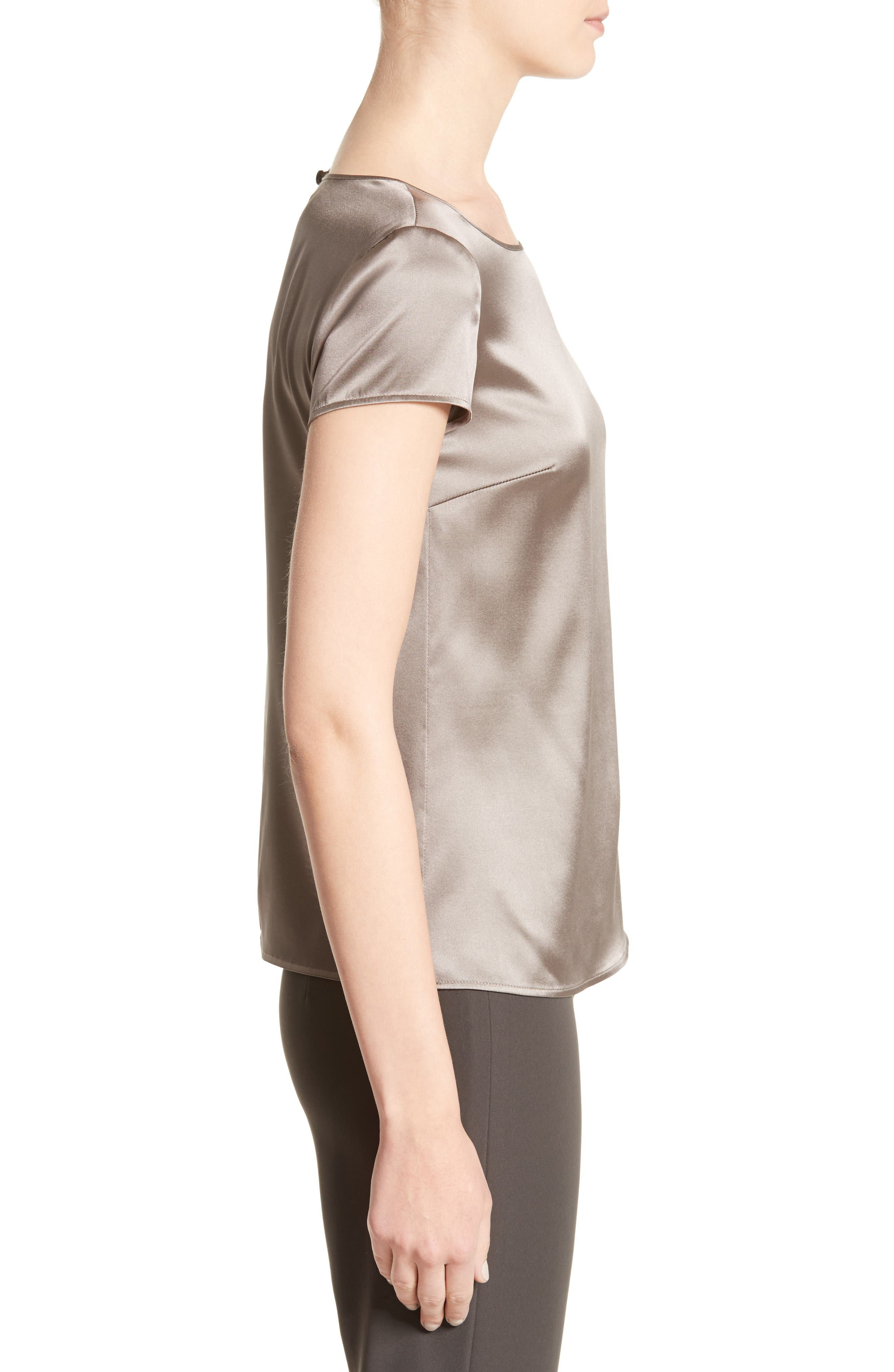 Alternate Image 5  - Armani Collezioni Stretch Silk Satin Top
