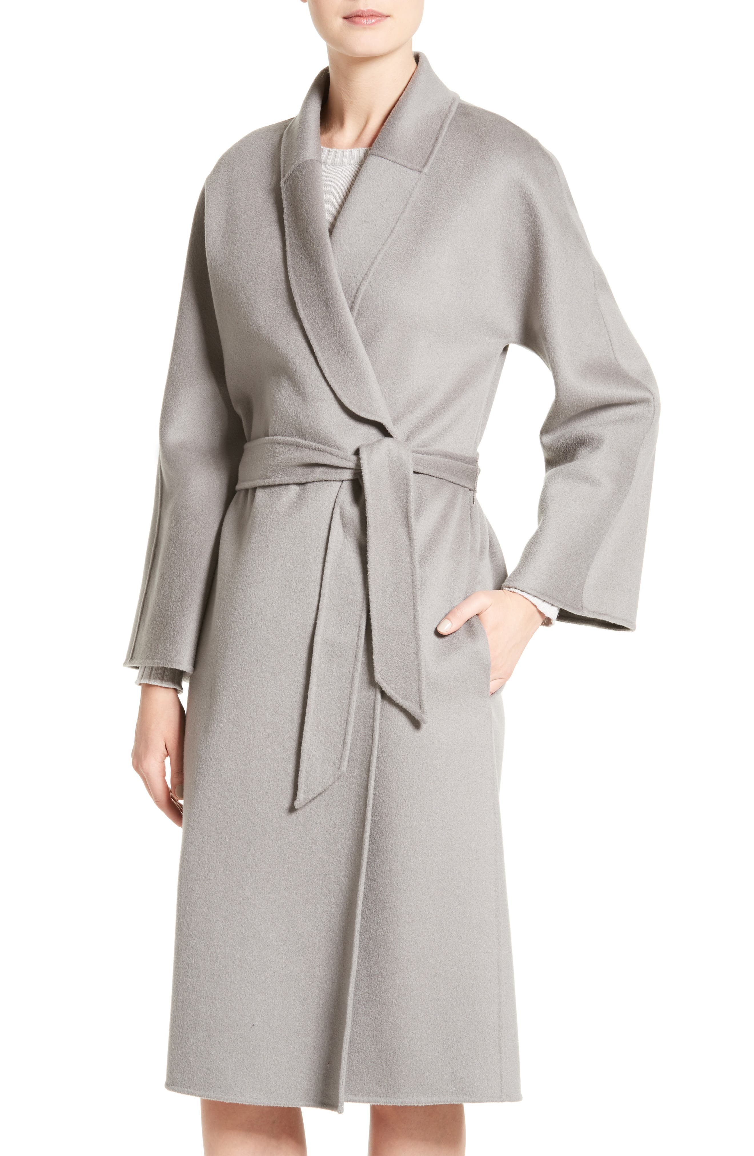 Double Face Cashmere Wrap Coat,                         Main,                         color, Titanium