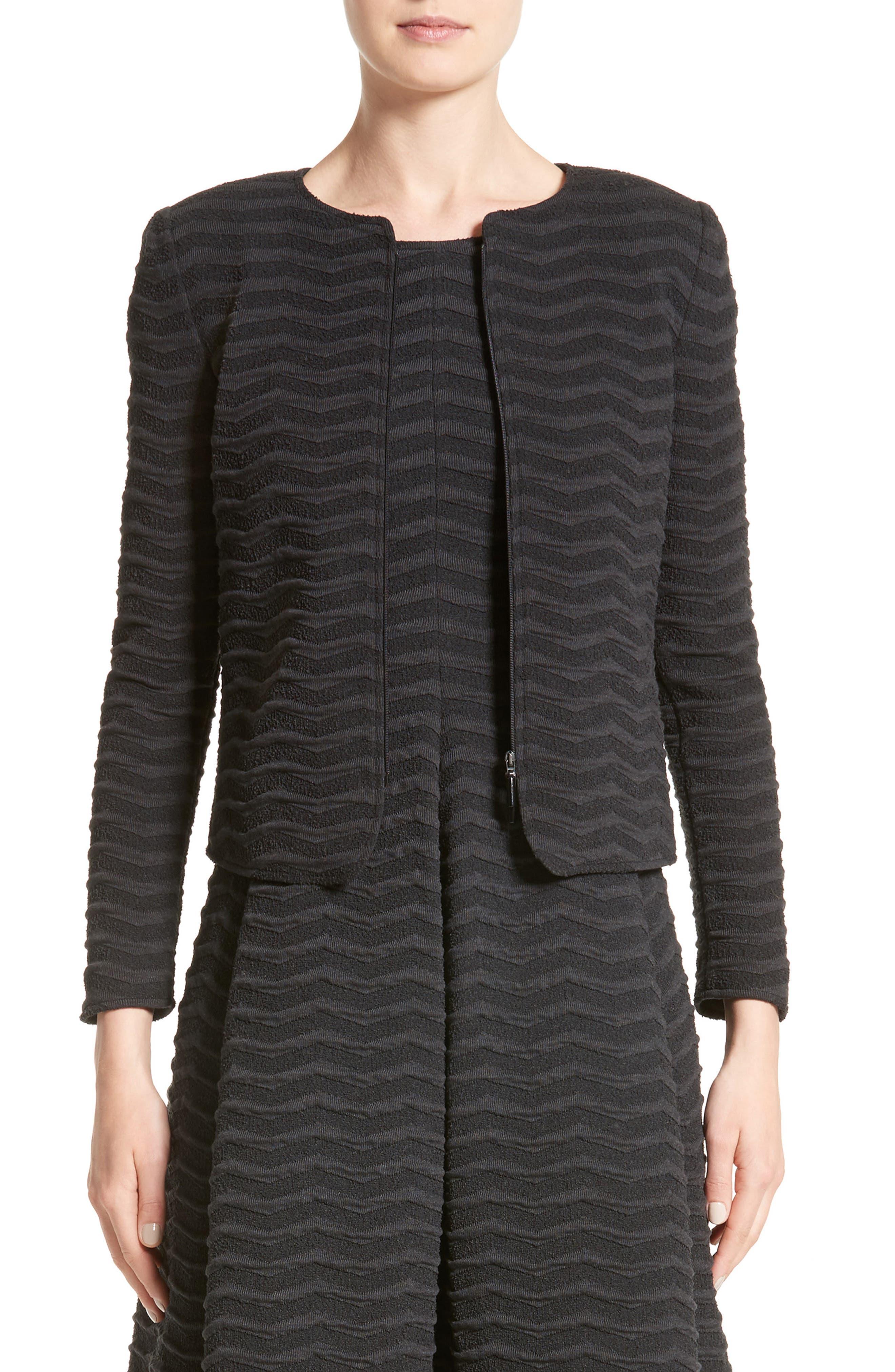 Embossed Jacquard Jersey Jacket,                         Main,                         color, Dark Grey