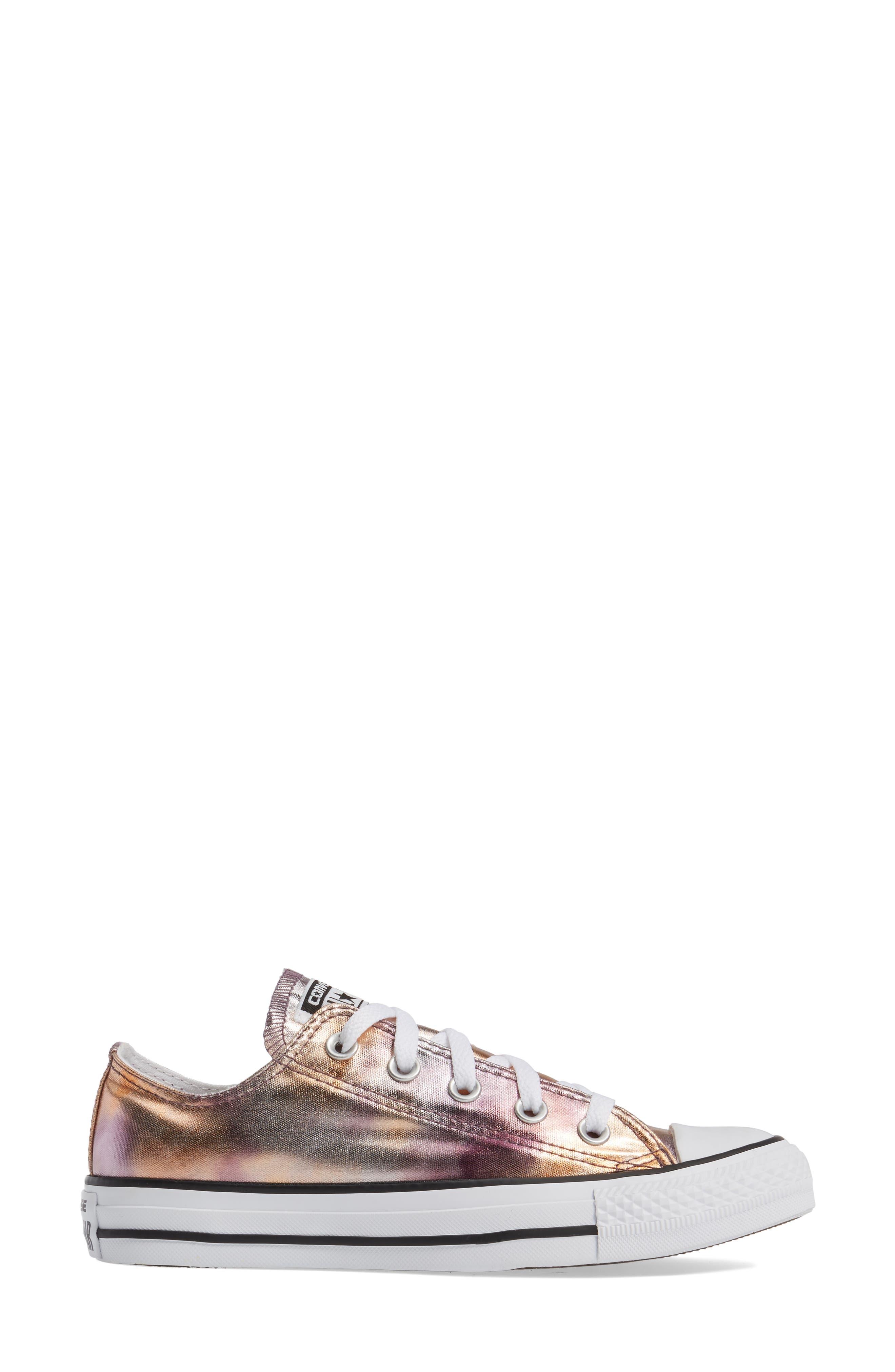 Chuck Taylor<sup>®</sup> All Star<sup>®</sup> Seasonal Metallic Ox Low Top Sneaker,                             Alternate thumbnail 3, color,                             Dusk Pink