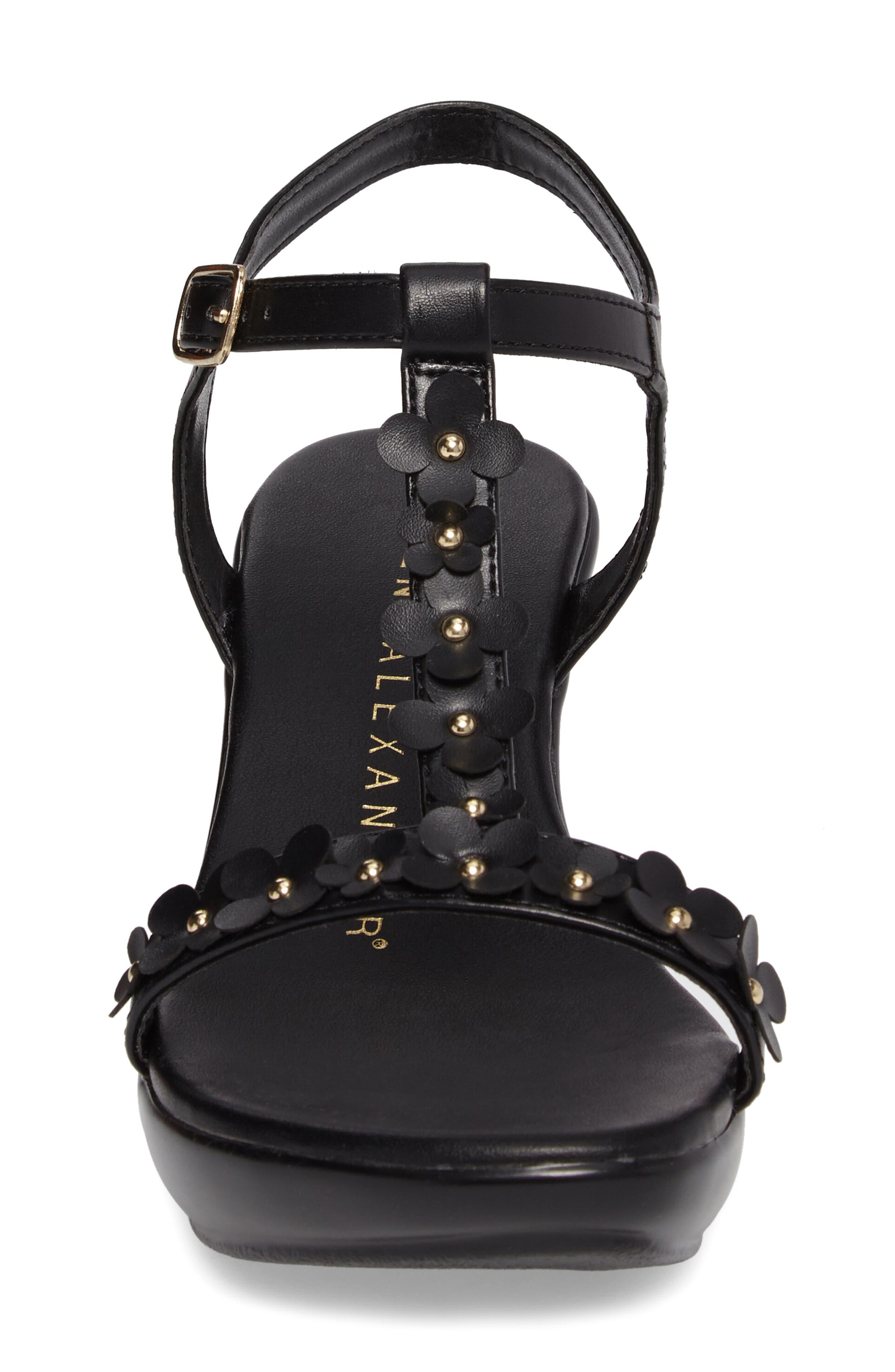 Evelina Sandal,                             Alternate thumbnail 4, color,                             Black Faux Leather