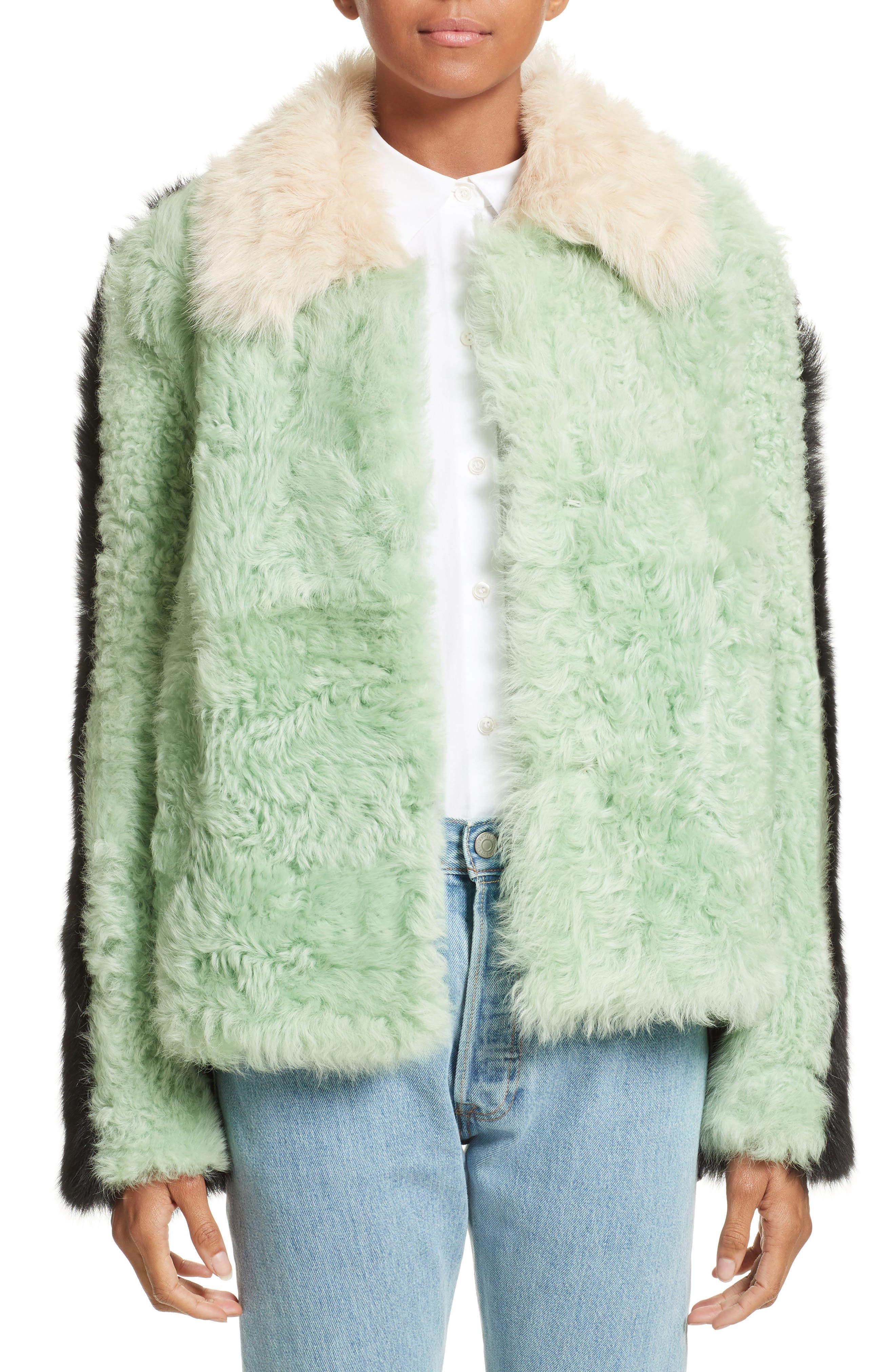 Cashew Genuine Shearling Coat,                         Main,                         color, Glow In The Dark
