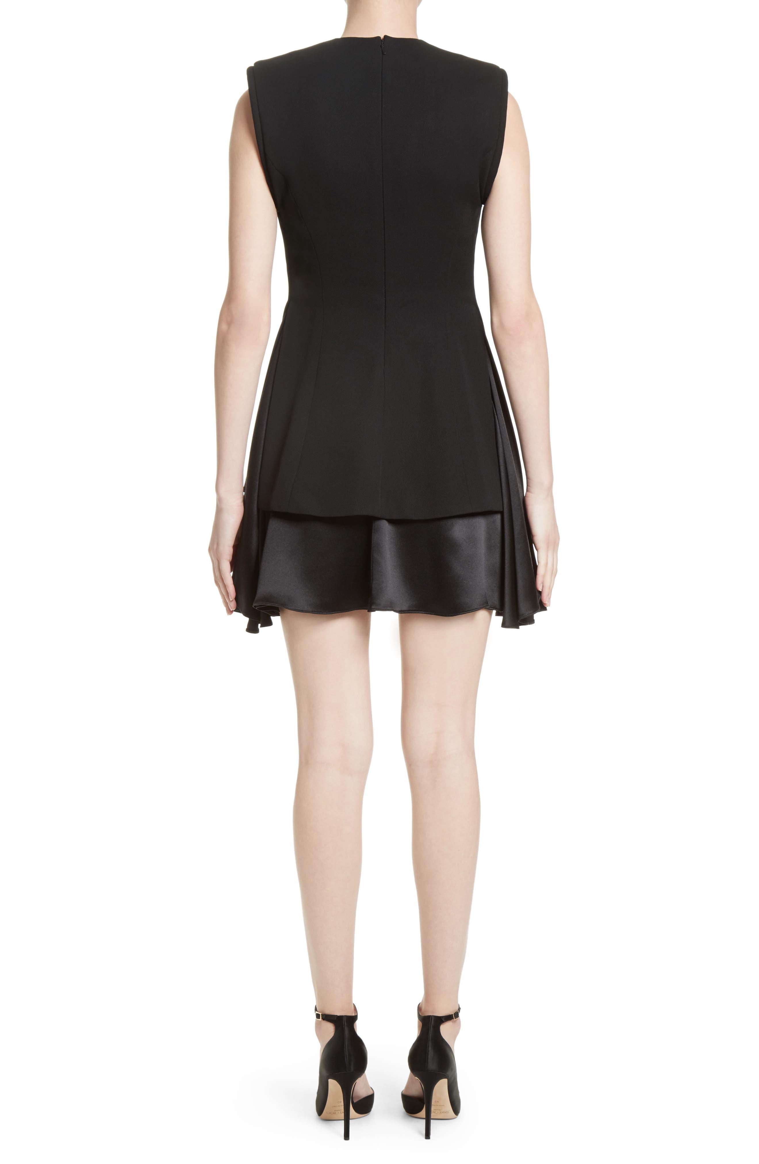 Mixed Media V-Neck Dress,                             Alternate thumbnail 2, color,                             Black