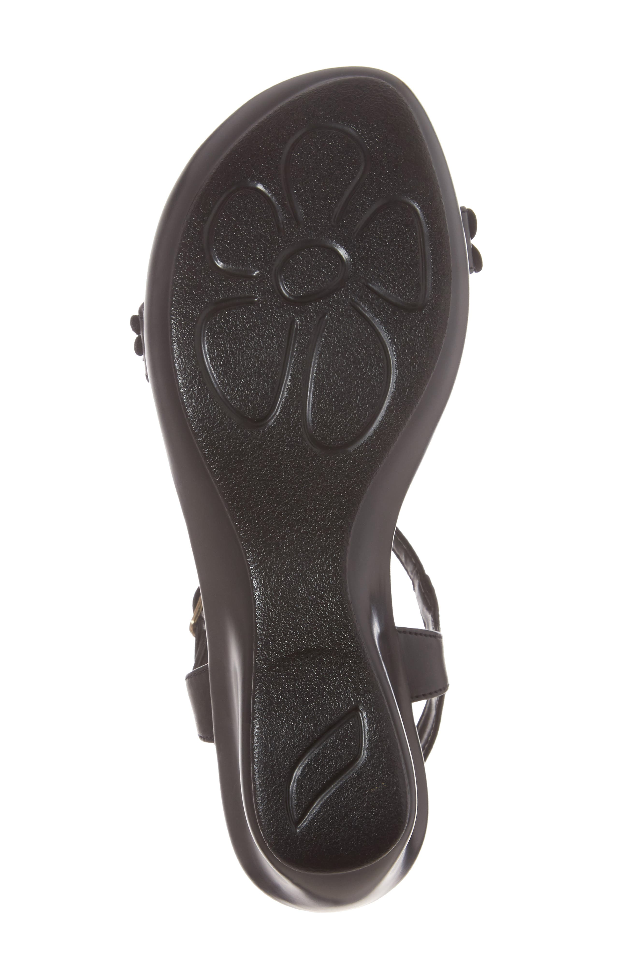 Evelina Sandal,                             Alternate thumbnail 6, color,                             Black Faux Leather