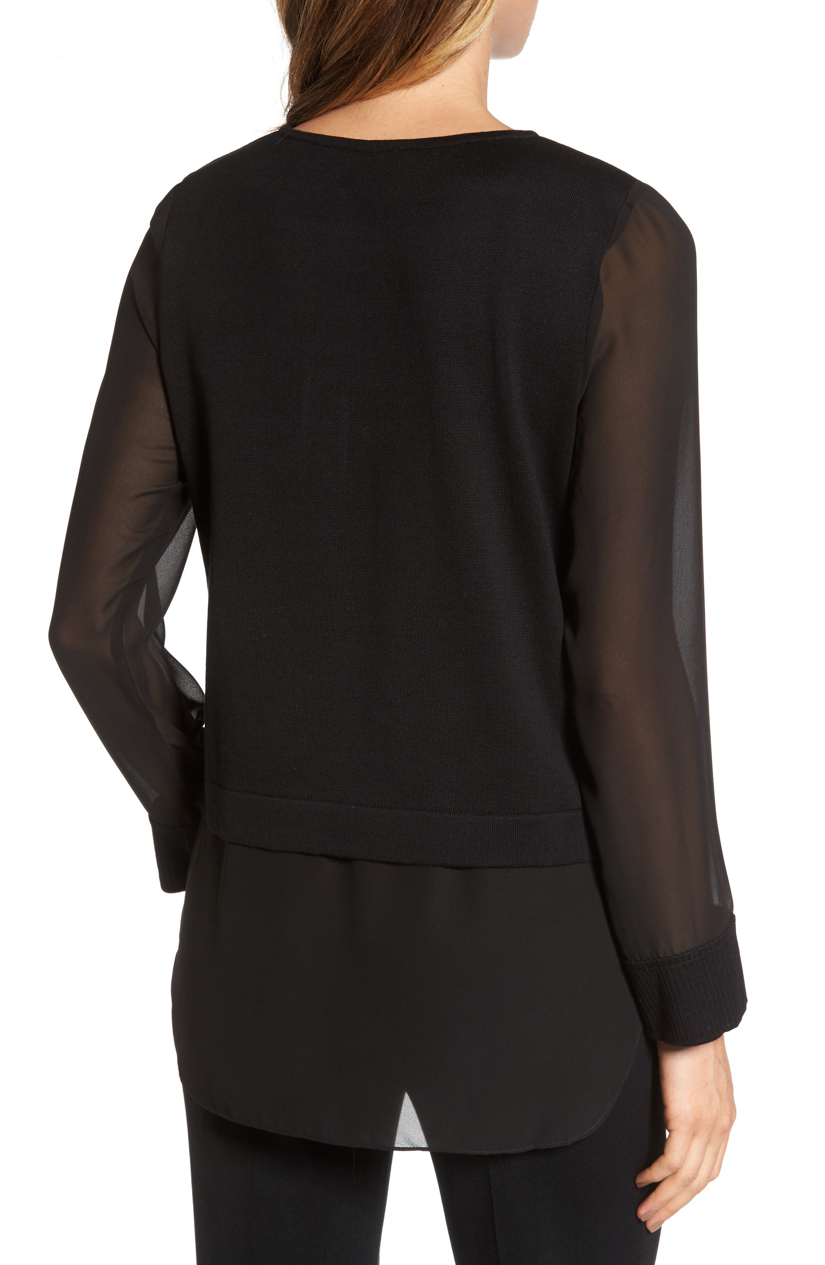 Layered Look Tunic,                             Alternate thumbnail 2, color,                             Black/ Orchid/ Ivory