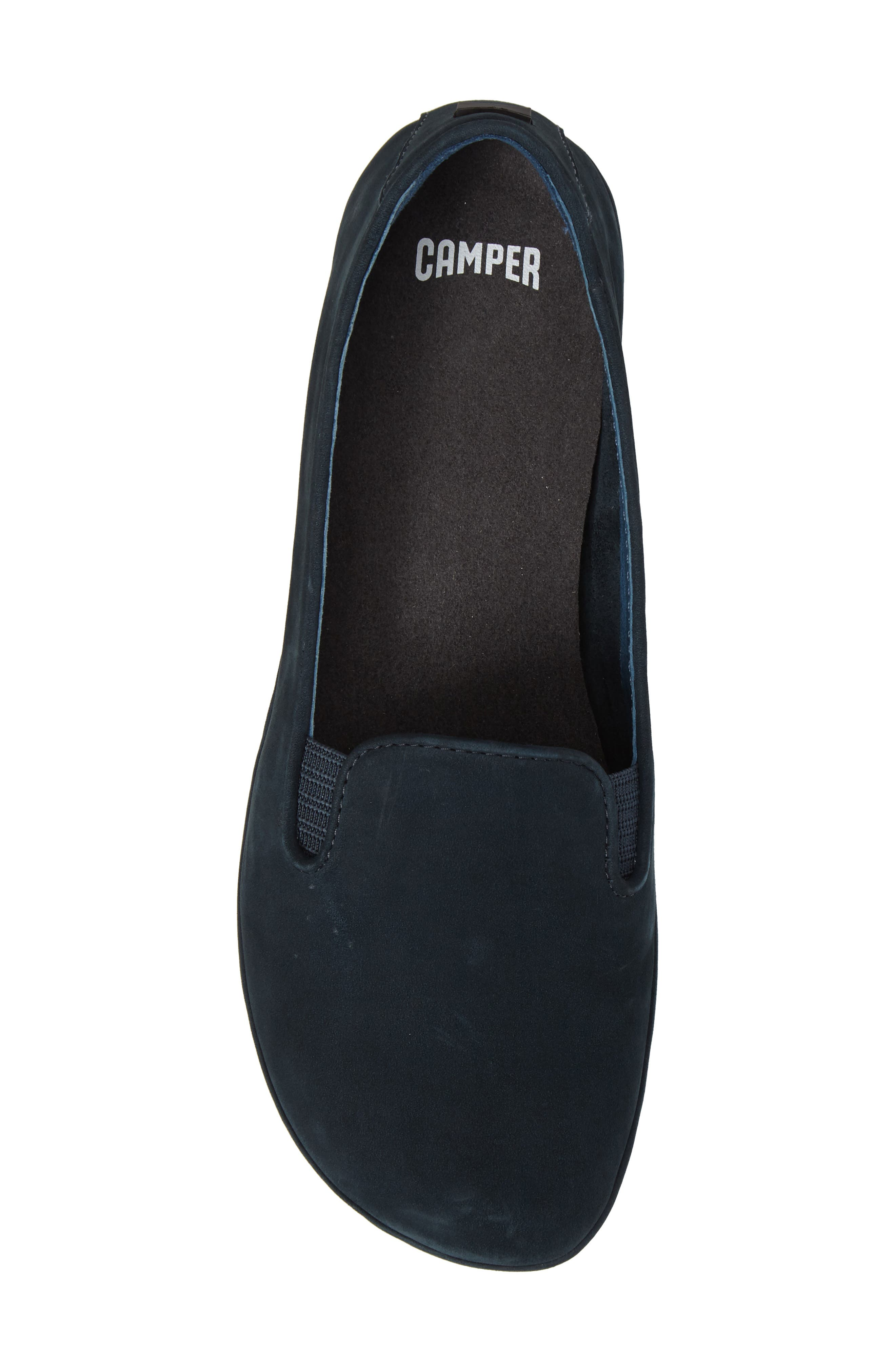 'Right Nina' Leather Flat,                             Alternate thumbnail 5, color,                             Dark Blue Leather