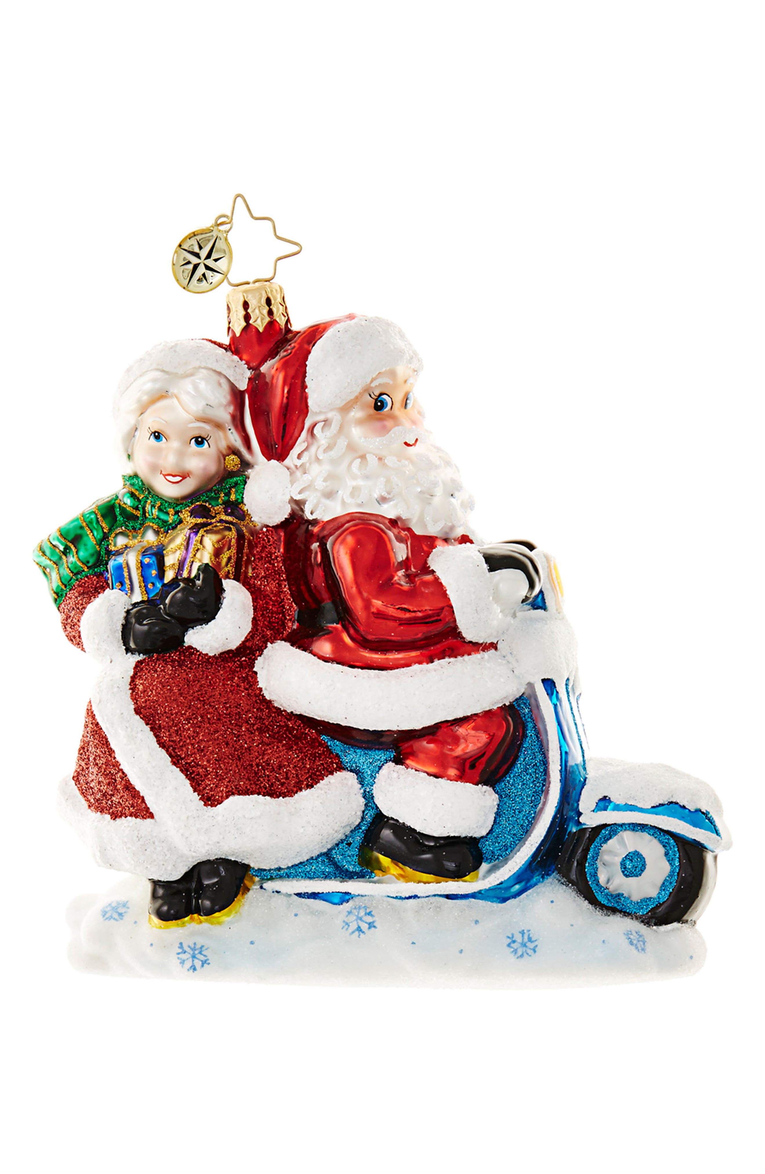 Christopher Radko Scooter for 2 Santa Claus & Mrs. Claus Ornament