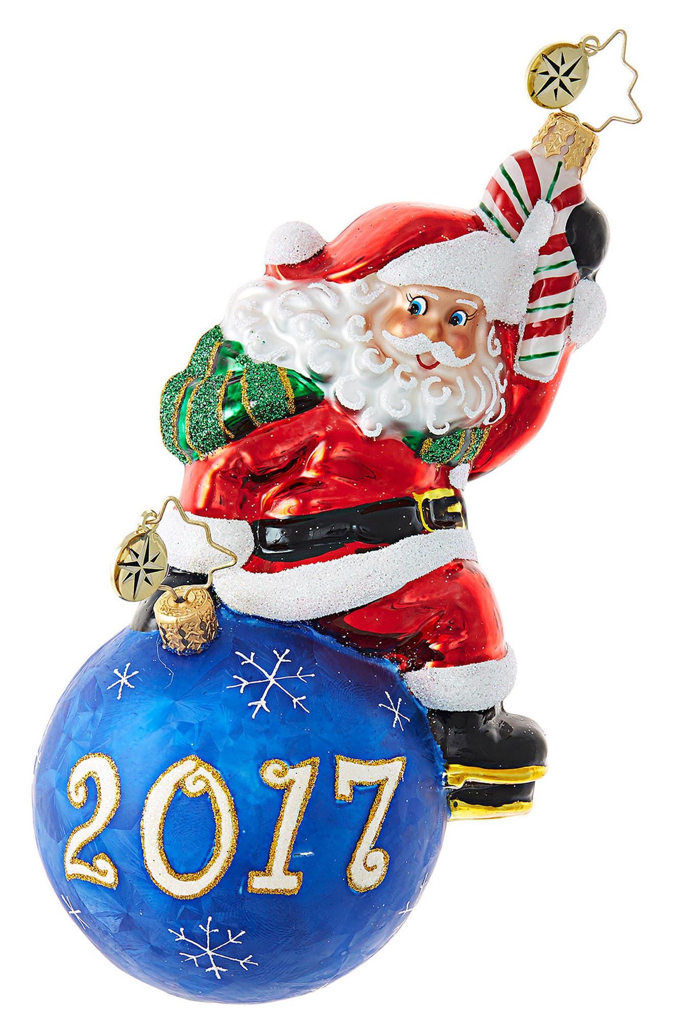 Having a Ball 2017 Santa Claus Ornament,                         Main,                         color, Blue/ Multi