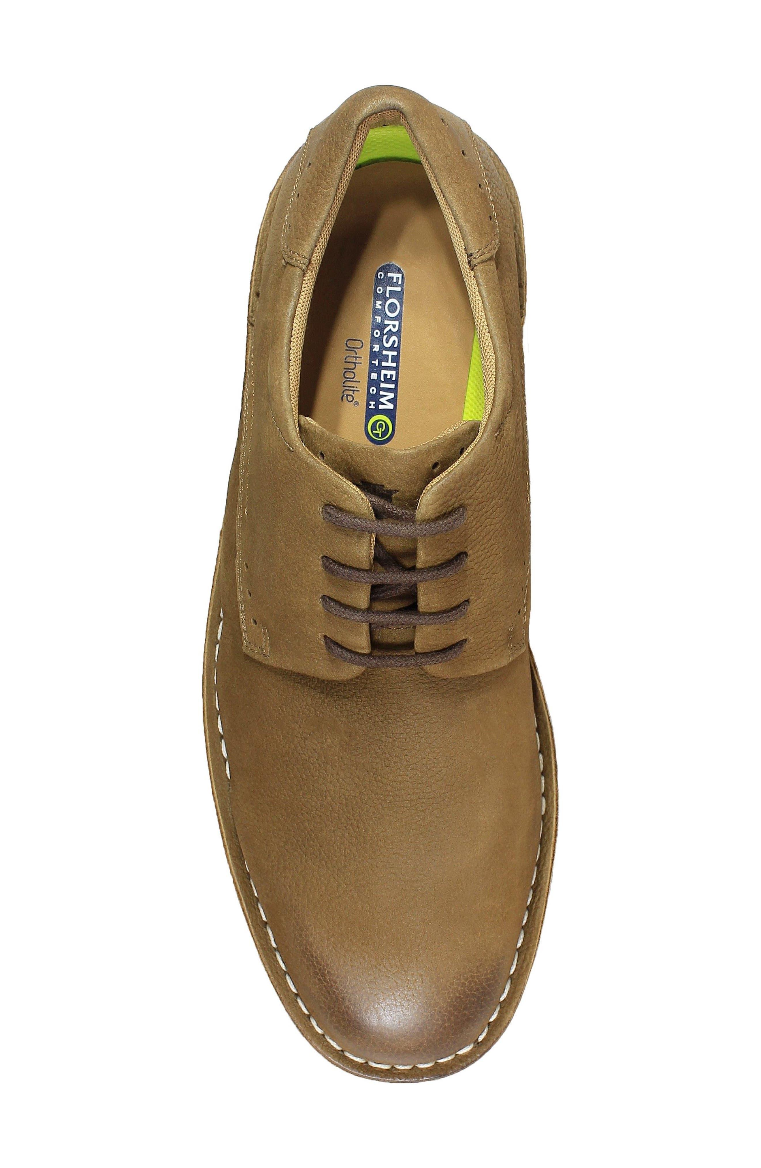 Navigator Plain Toe Oxford,                             Alternate thumbnail 5, color,                             Cocoa Nubuck Leather