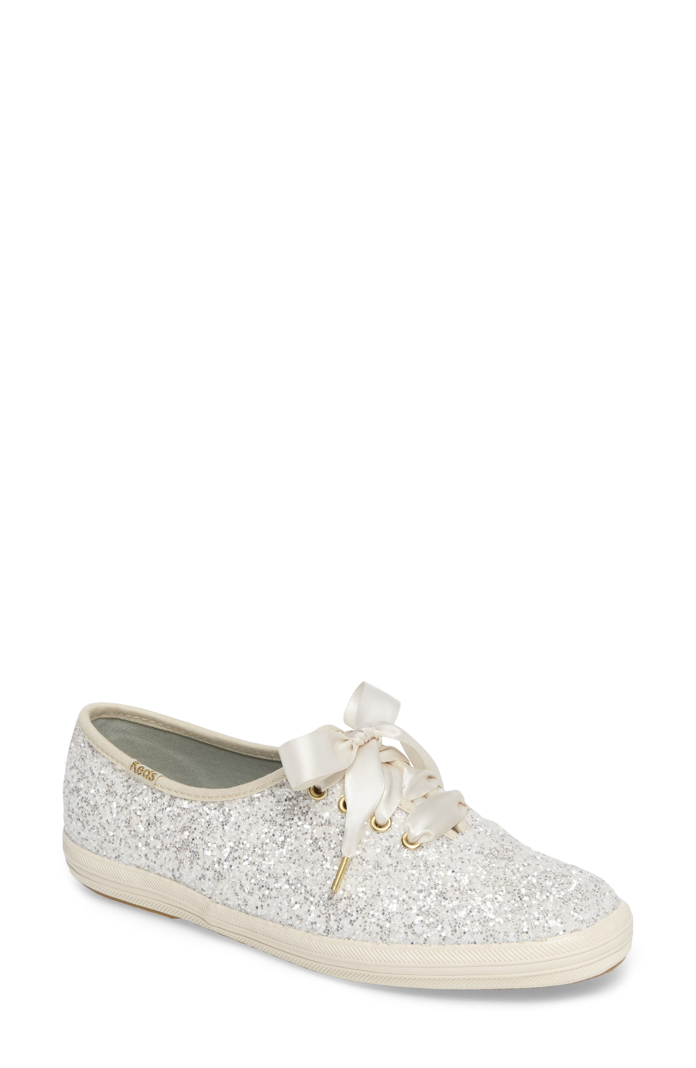 glitter sneaker,                         Main,                         color, Cream