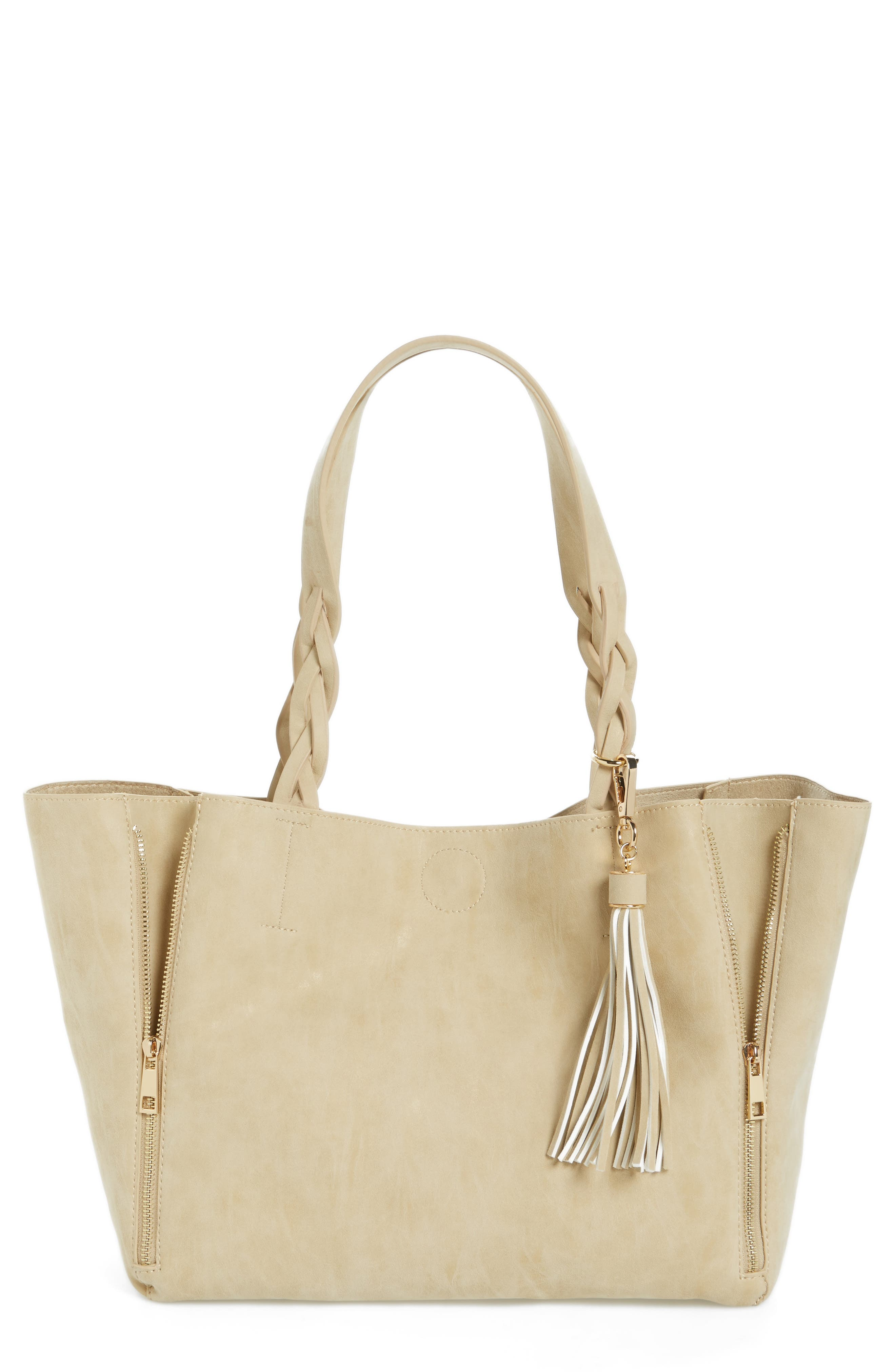 Faux Leather Braided Handle Tote,                             Main thumbnail 1, color,                             Beige