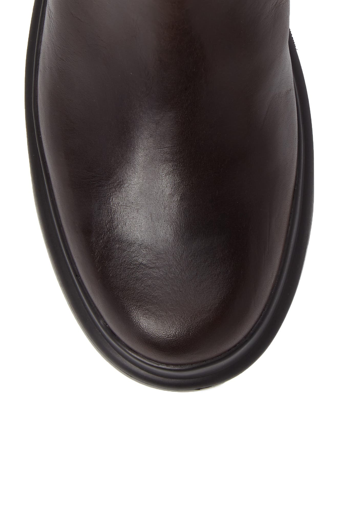 Turtle Lugged Chelsea Boot,                             Alternate thumbnail 5, color,                             Dark Brown Leather
