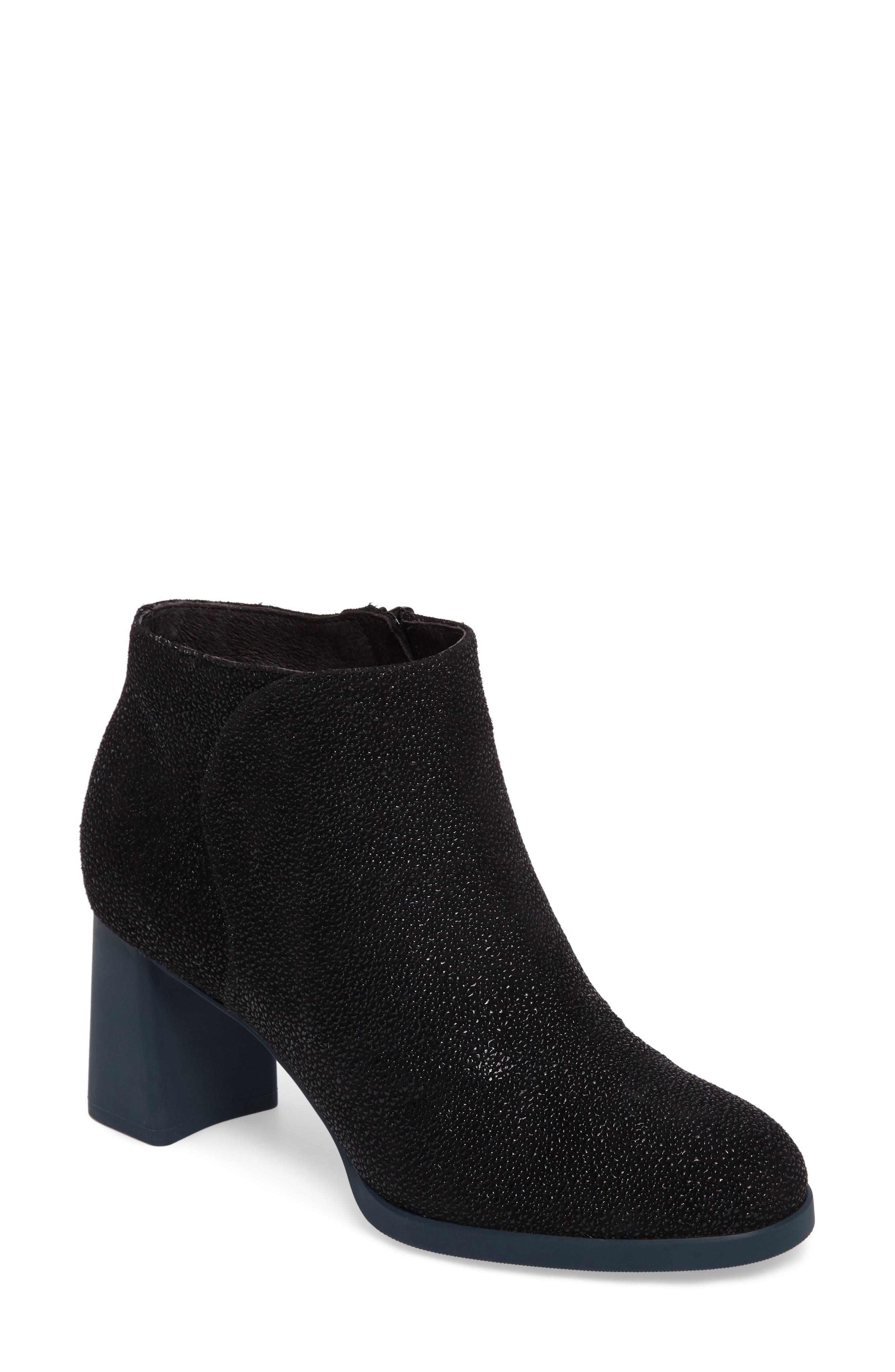 Kara Flared Heel Bootie,                             Main thumbnail 1, color,                             Black Sparkle Leather