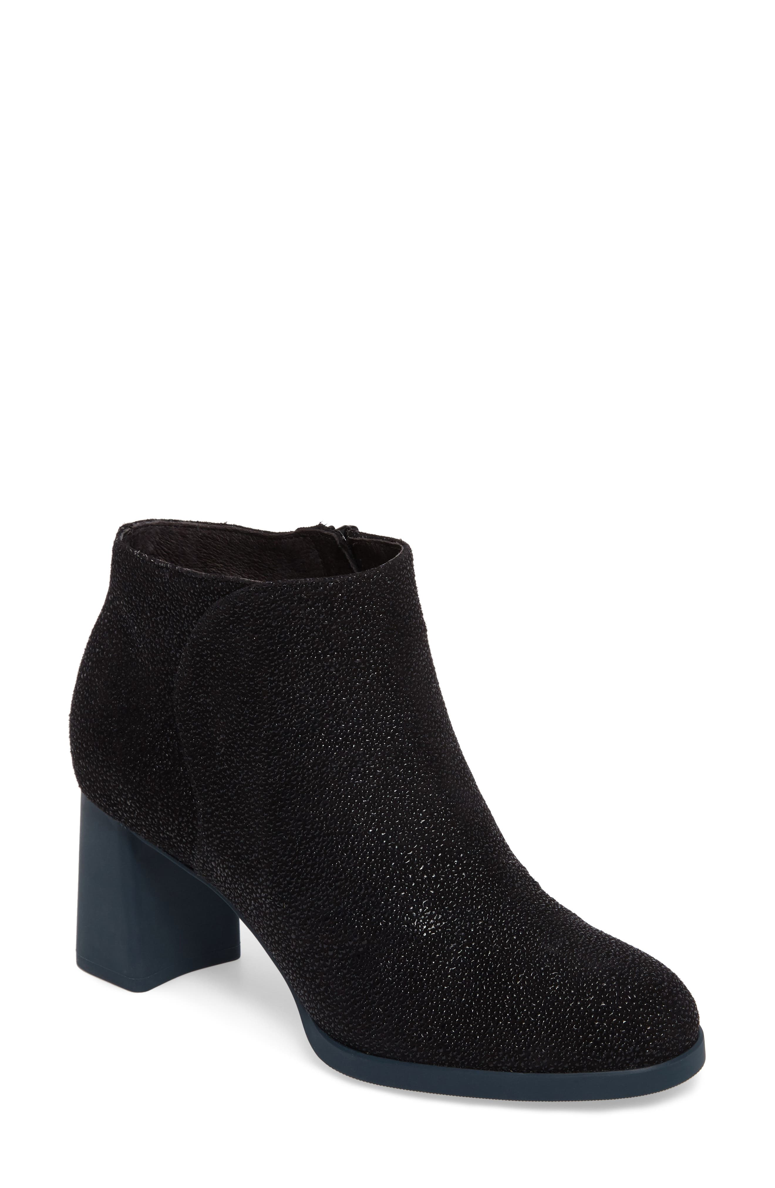 Kara Flared Heel Bootie,                         Main,                         color, Black Sparkle Leather