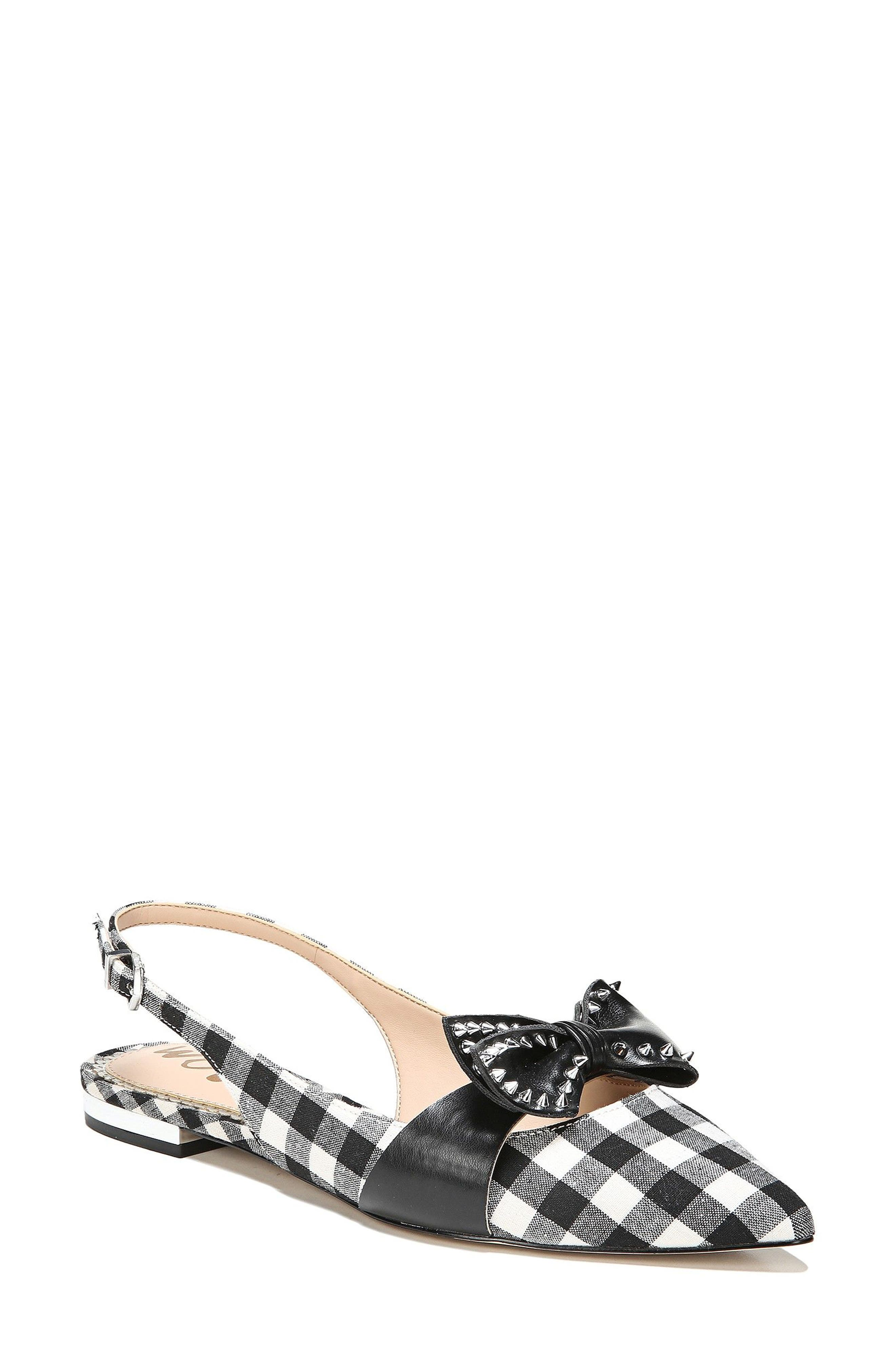 Rupert Bow Pointy Toe Flat,                         Main,                         color, Black/ White Canvas