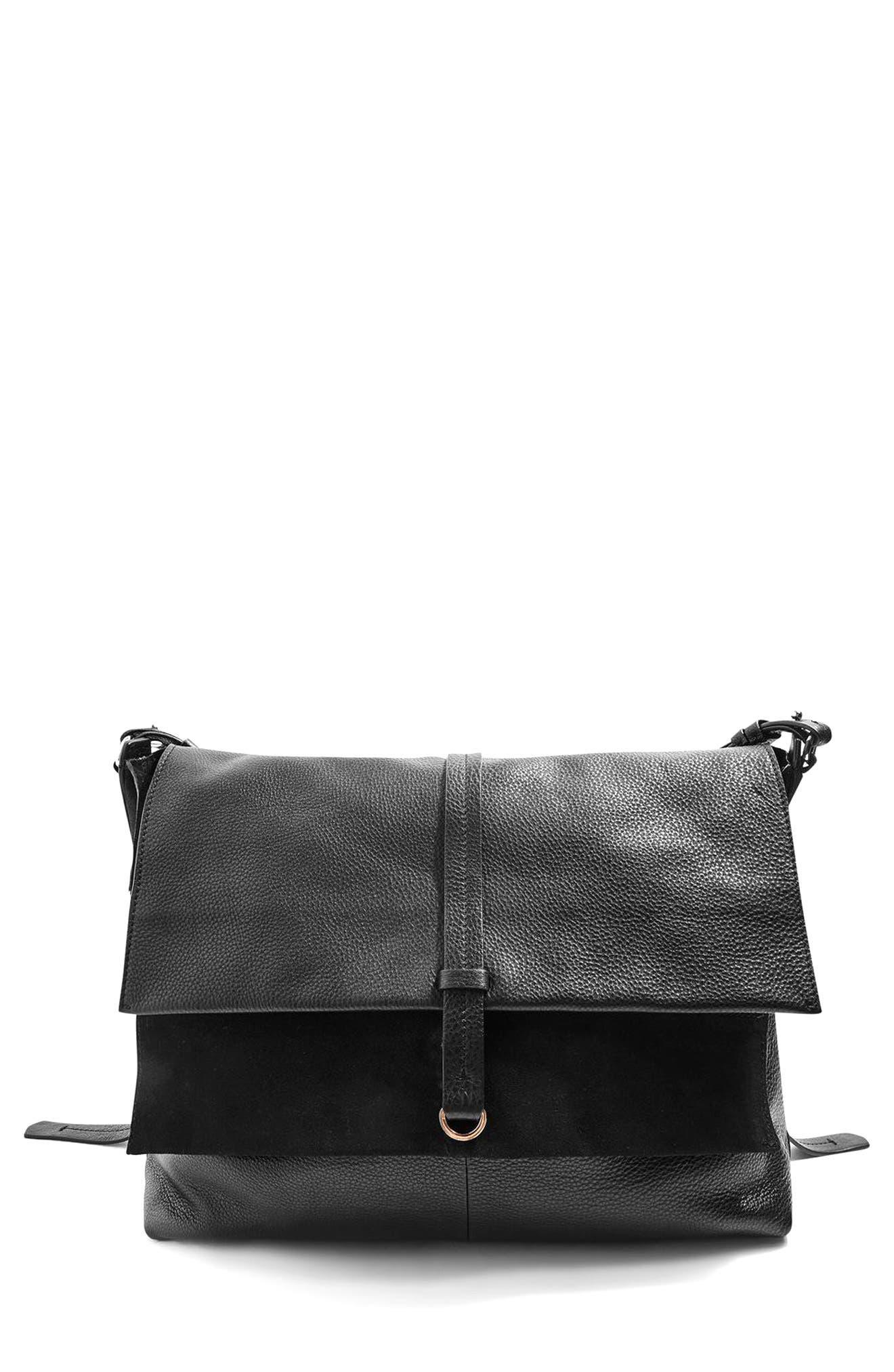 Alternate Image 1 Selected - Topshop Premium Leather Hobo Bag