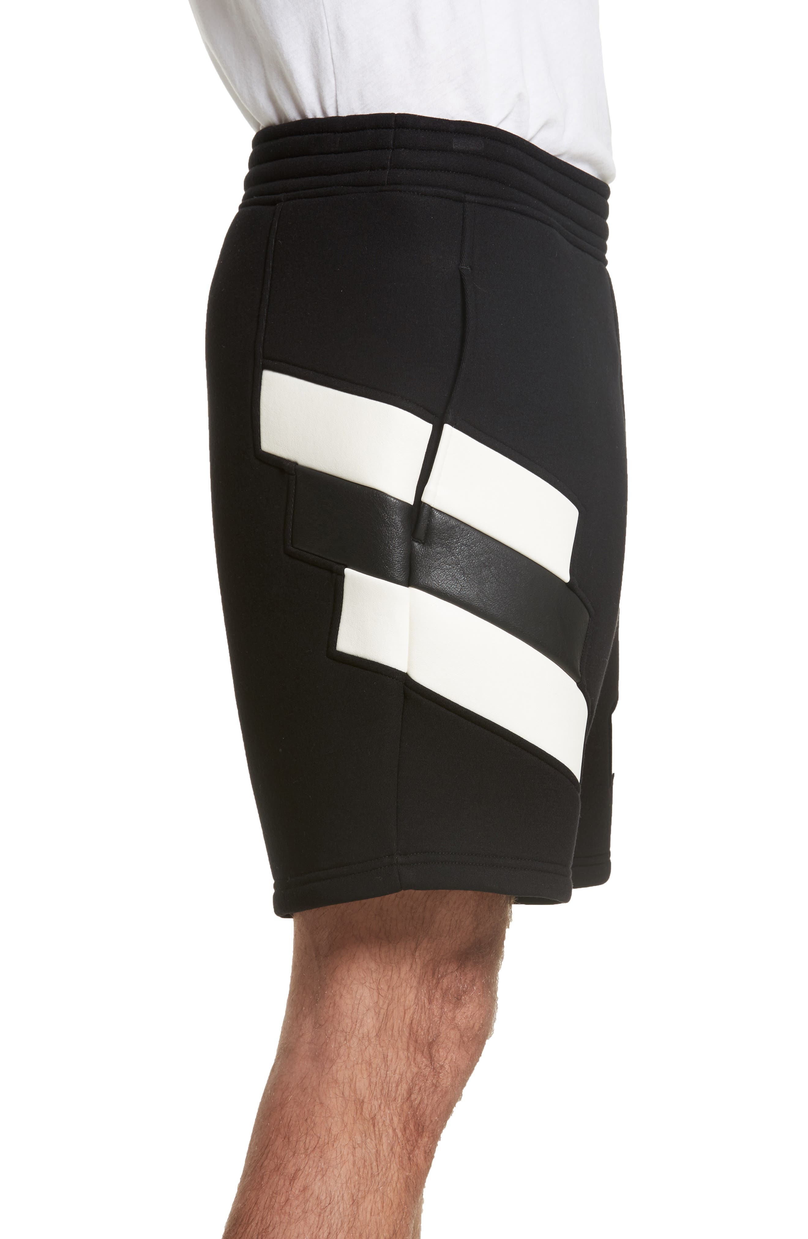 Retro Faux Leather Trim Sweat Shorts,                             Alternate thumbnail 3, color,                             Black/ Off White