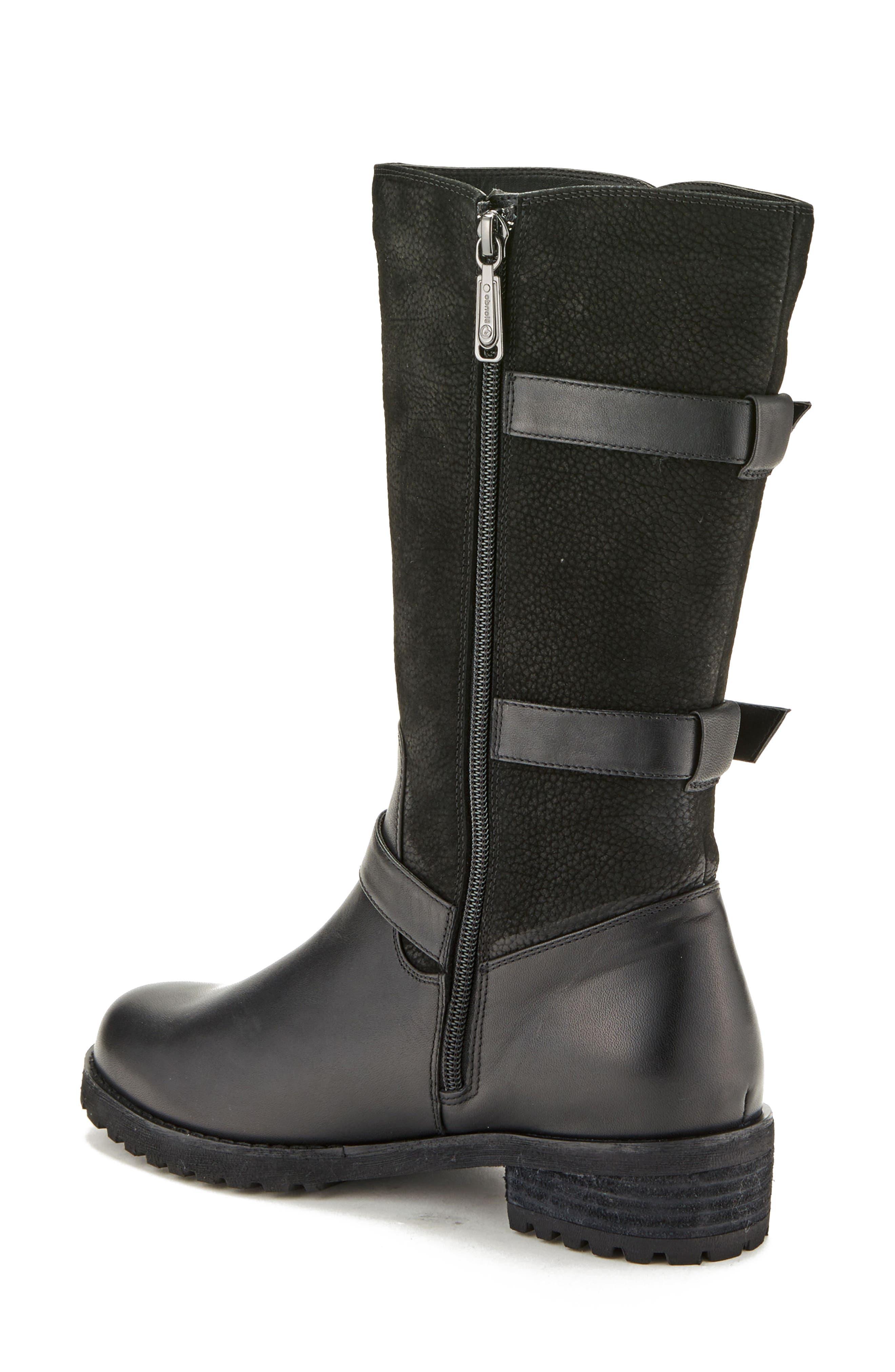 Lenie Waterproof Moto Boot,                             Alternate thumbnail 2, color,                             Black Leather