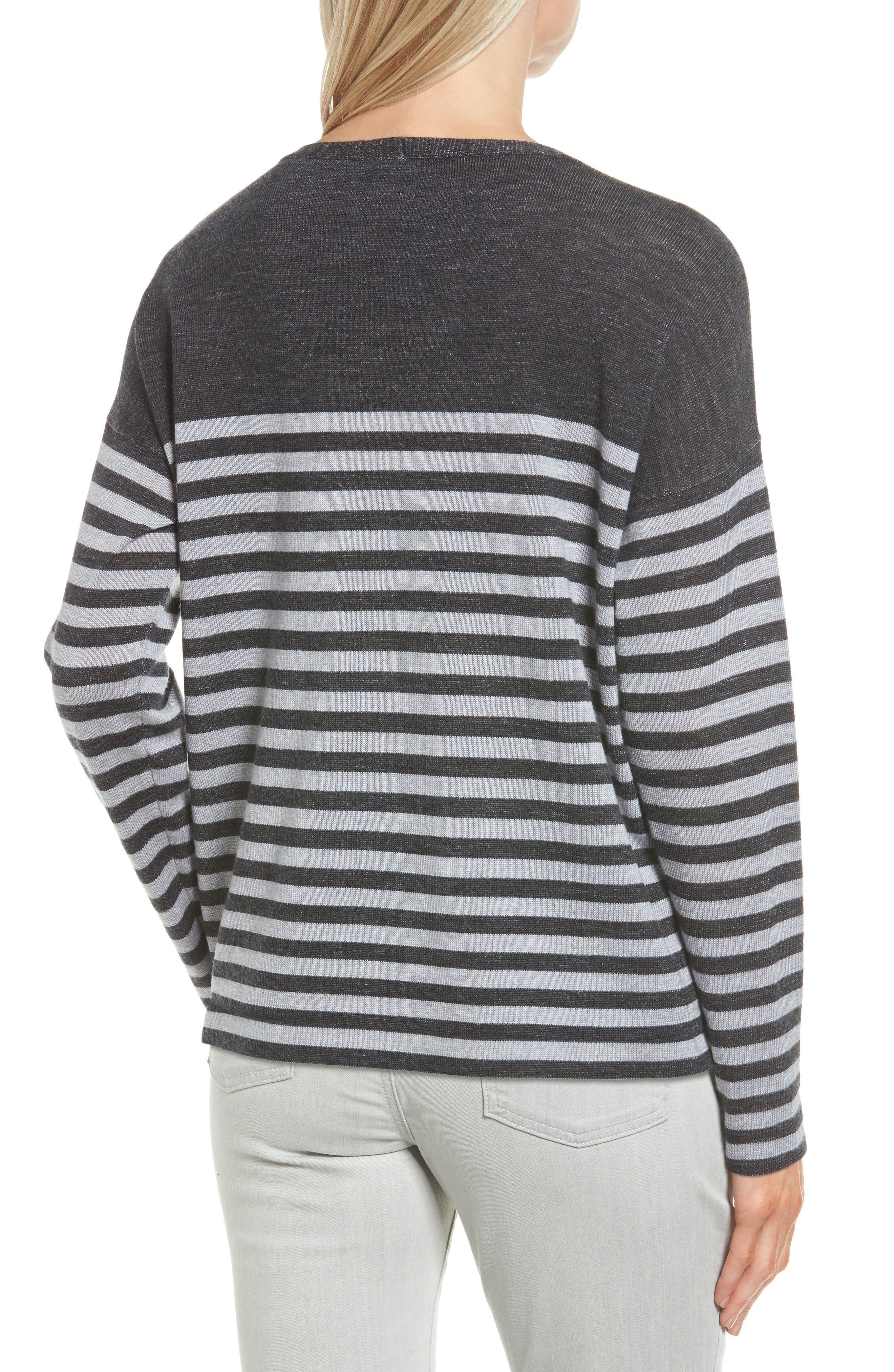 Alternate Image 2  - Eileen Fisher Stripe Merino Wool Pullover (Regular & Petite)