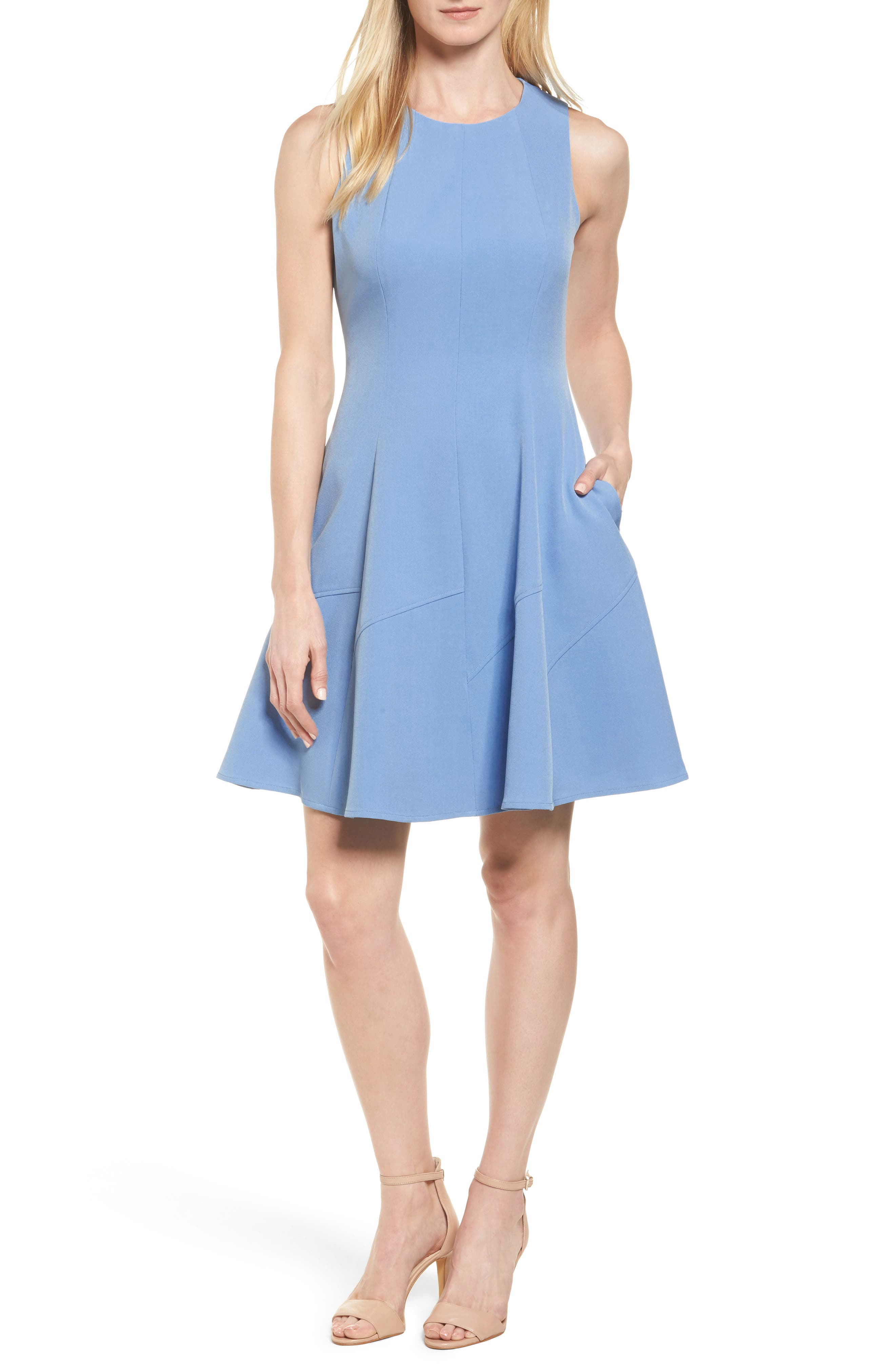Fit & Flare Dress,                         Main,                         color, Pacific