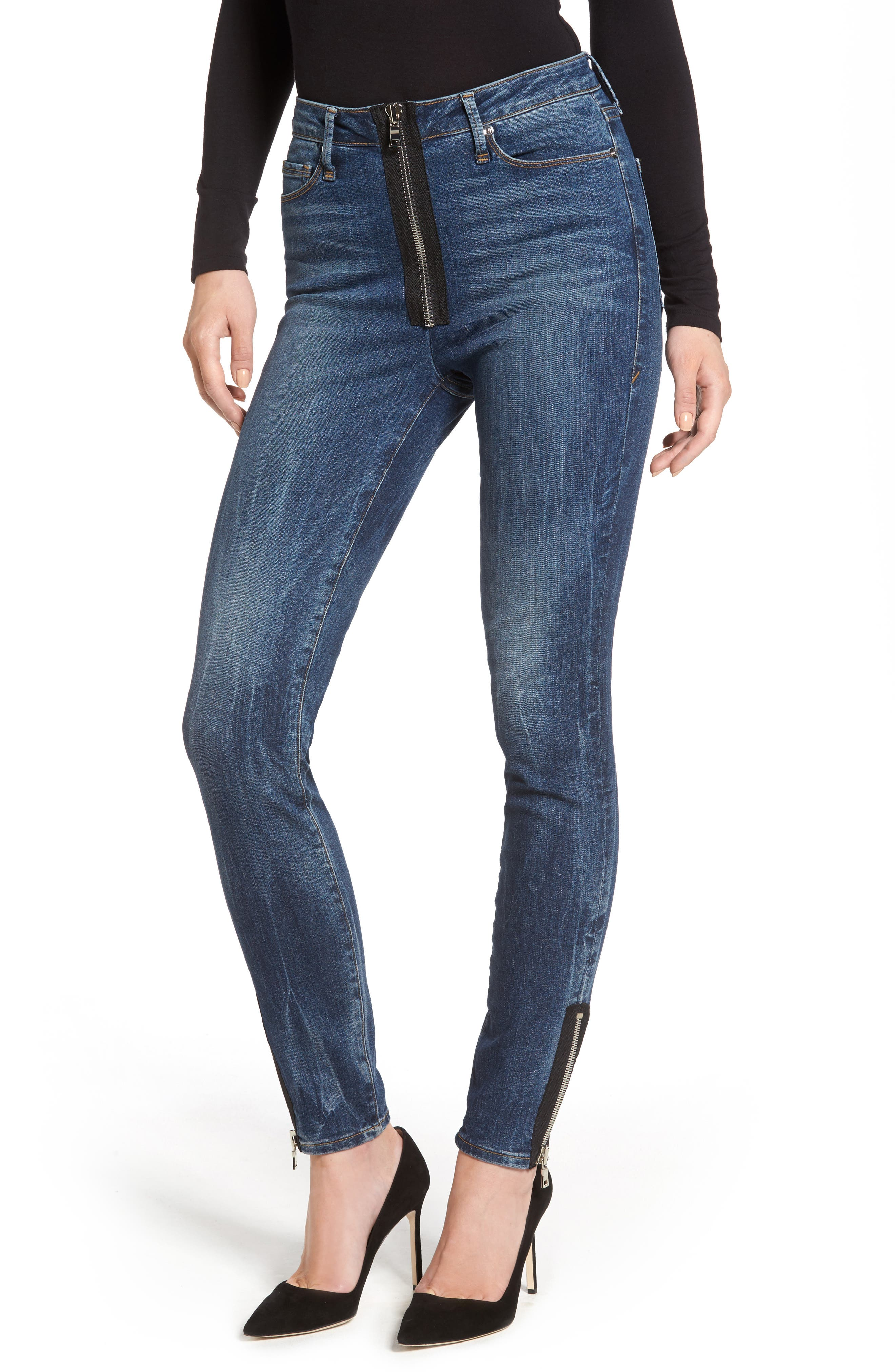 Alternate Image 1 Selected - Good American Good Waist High Rise Ankle Jeans (Blue 076) (Regular & Plus Size)