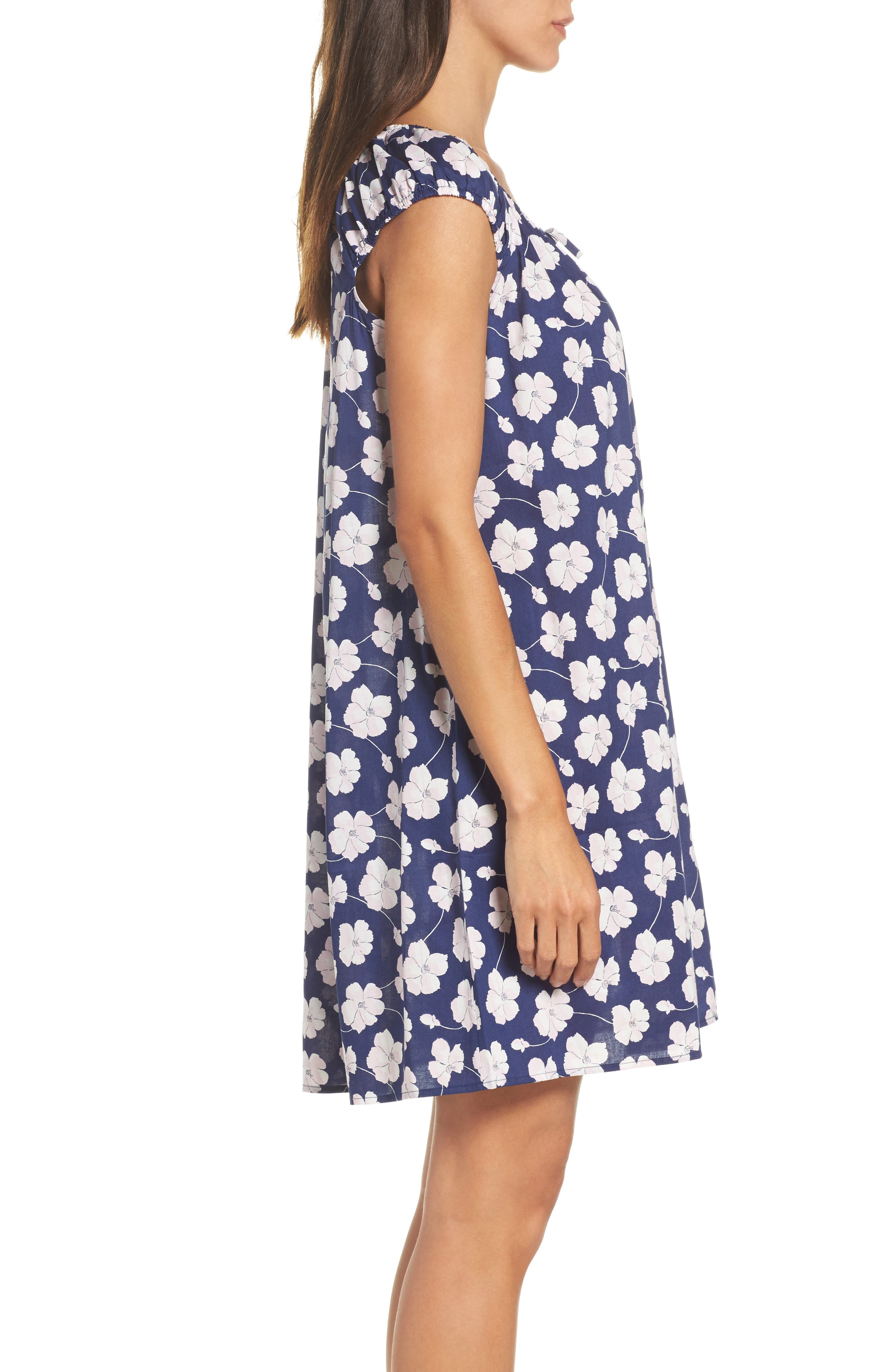 Short Nightgown,                             Alternate thumbnail 3, color,                             Navy Ground Floral