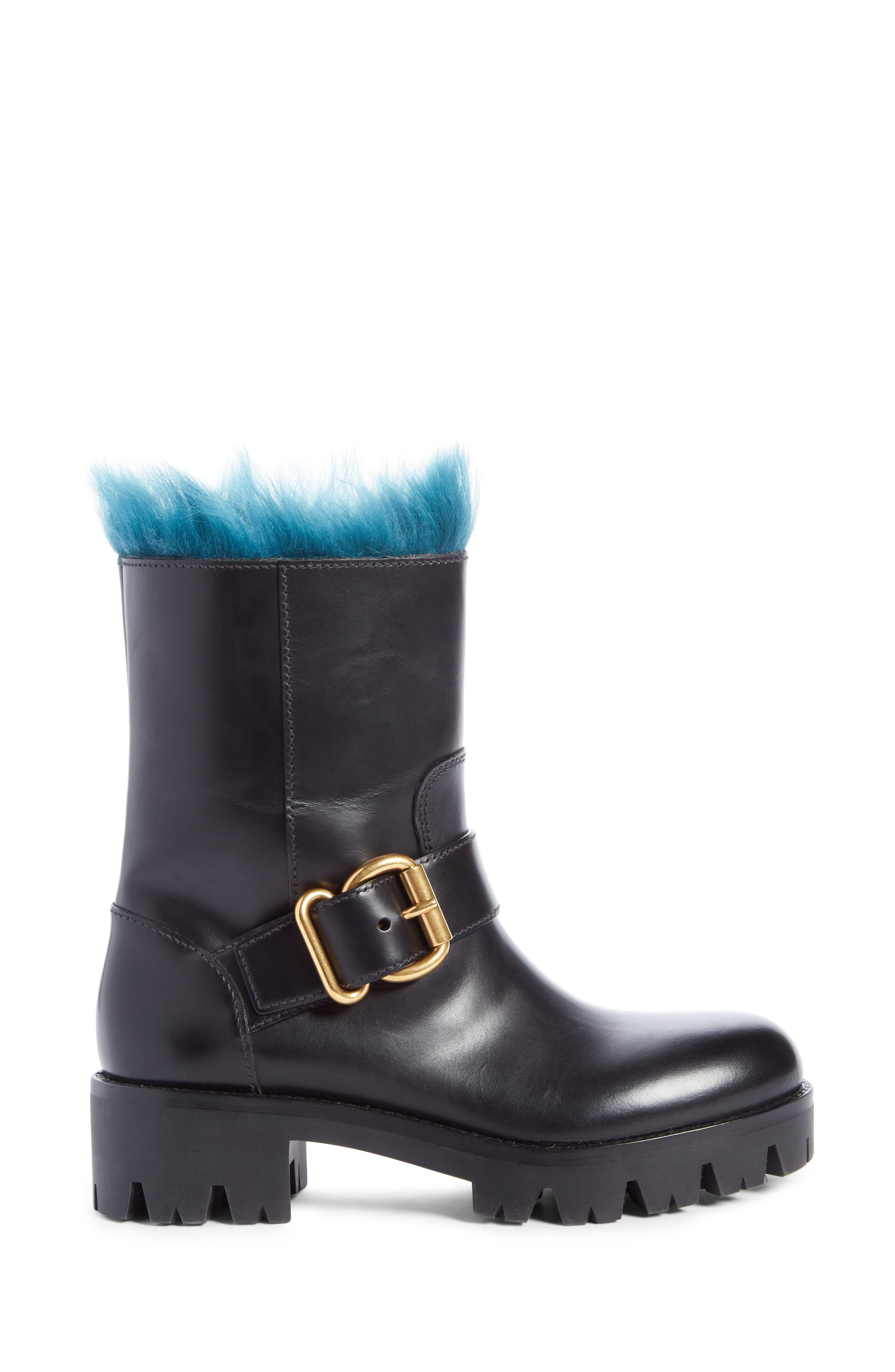 Genuine Shearling Lined Boot,                             Alternate thumbnail 4, color,                             Black