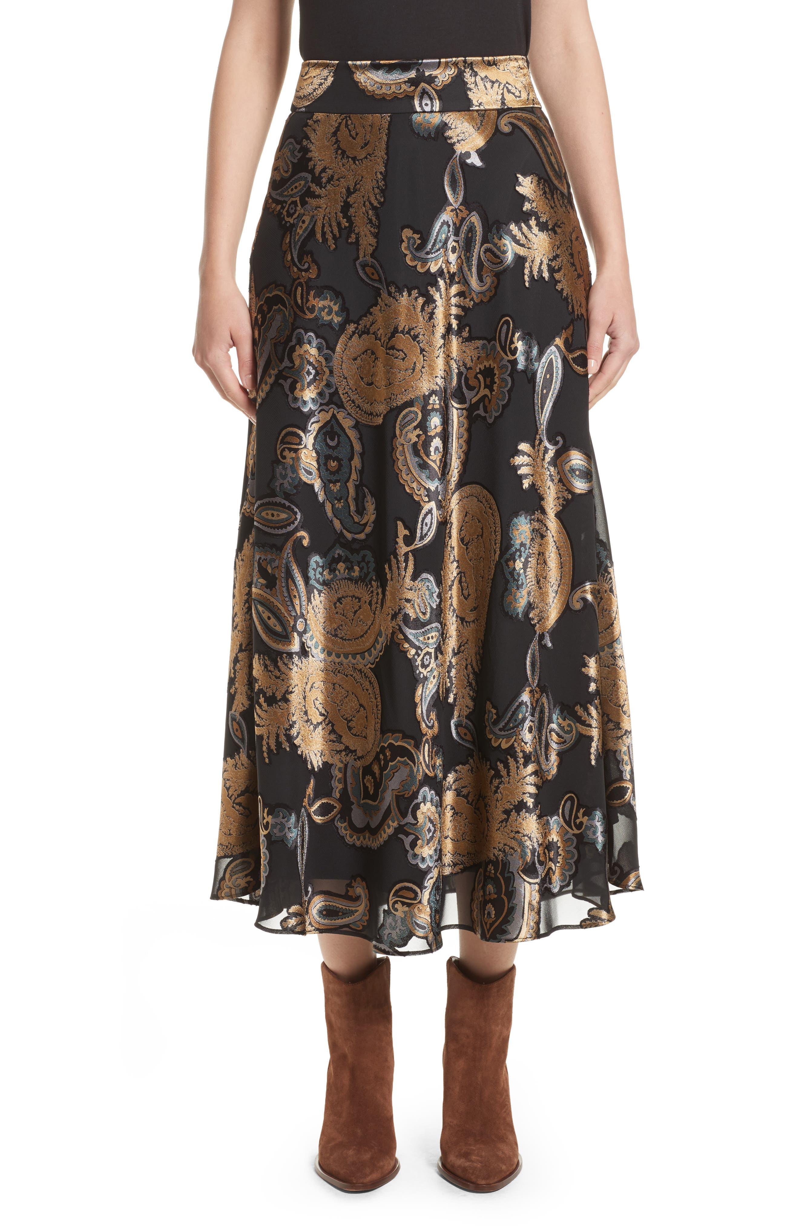 Kamara Renaissance Paisley Devoré Skirt,                         Main,                         color, Black Multi