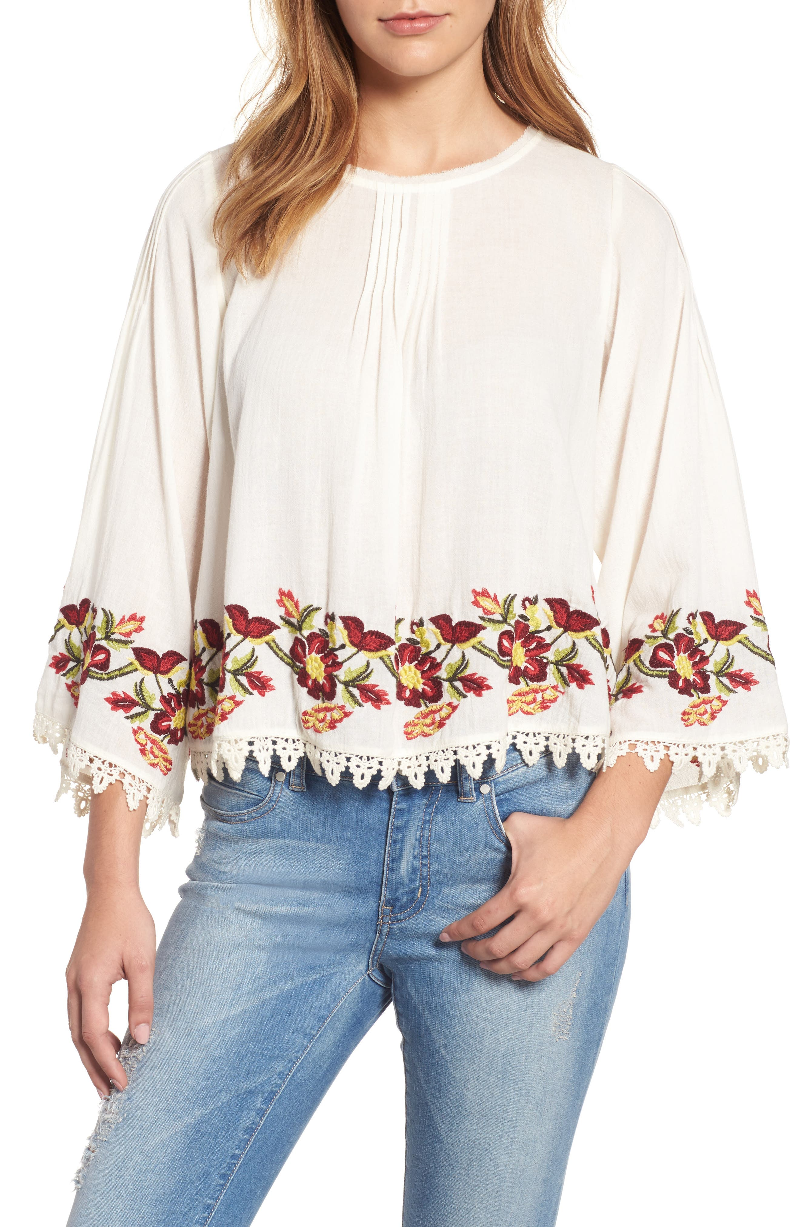 Embroidered Swing Blouse,                         Main,                         color, Cream