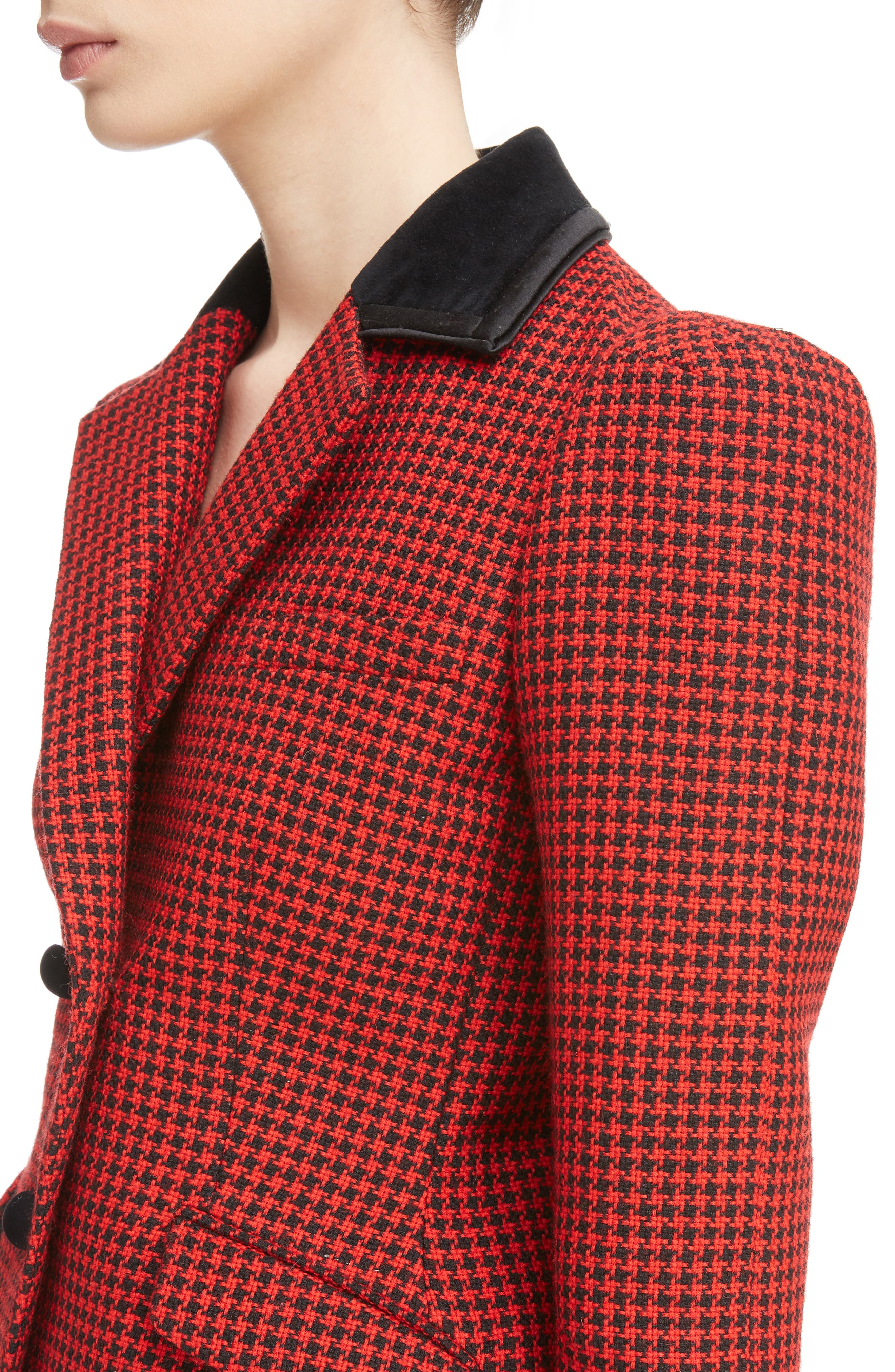 Paladini Houndstooth Wool Jacket,                             Alternate thumbnail 4, color,                             Scarlet/ Black
