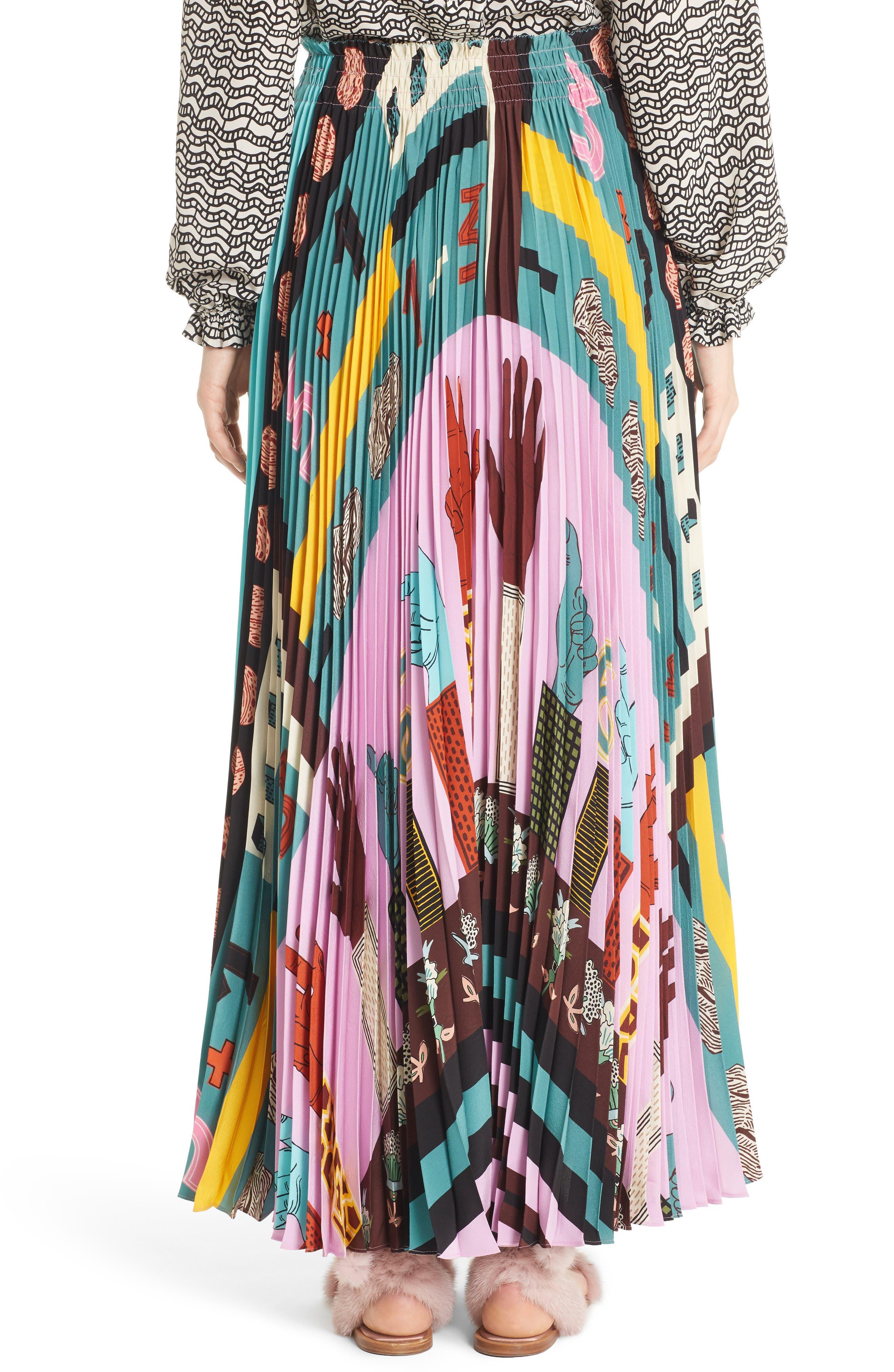 Alternate Image 2  - Valentino Counting Print Plissé Crêpe de Chine Midi Skirt