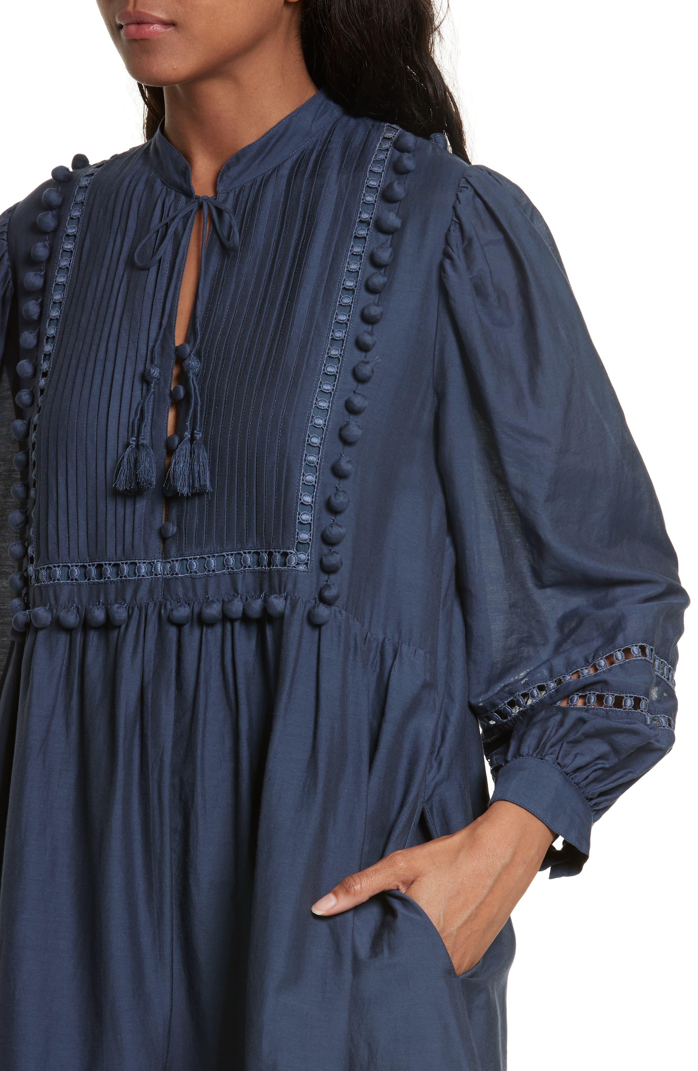 Alternate Image 4  - Sea Pompom Cotton & Silk Tunic Dress