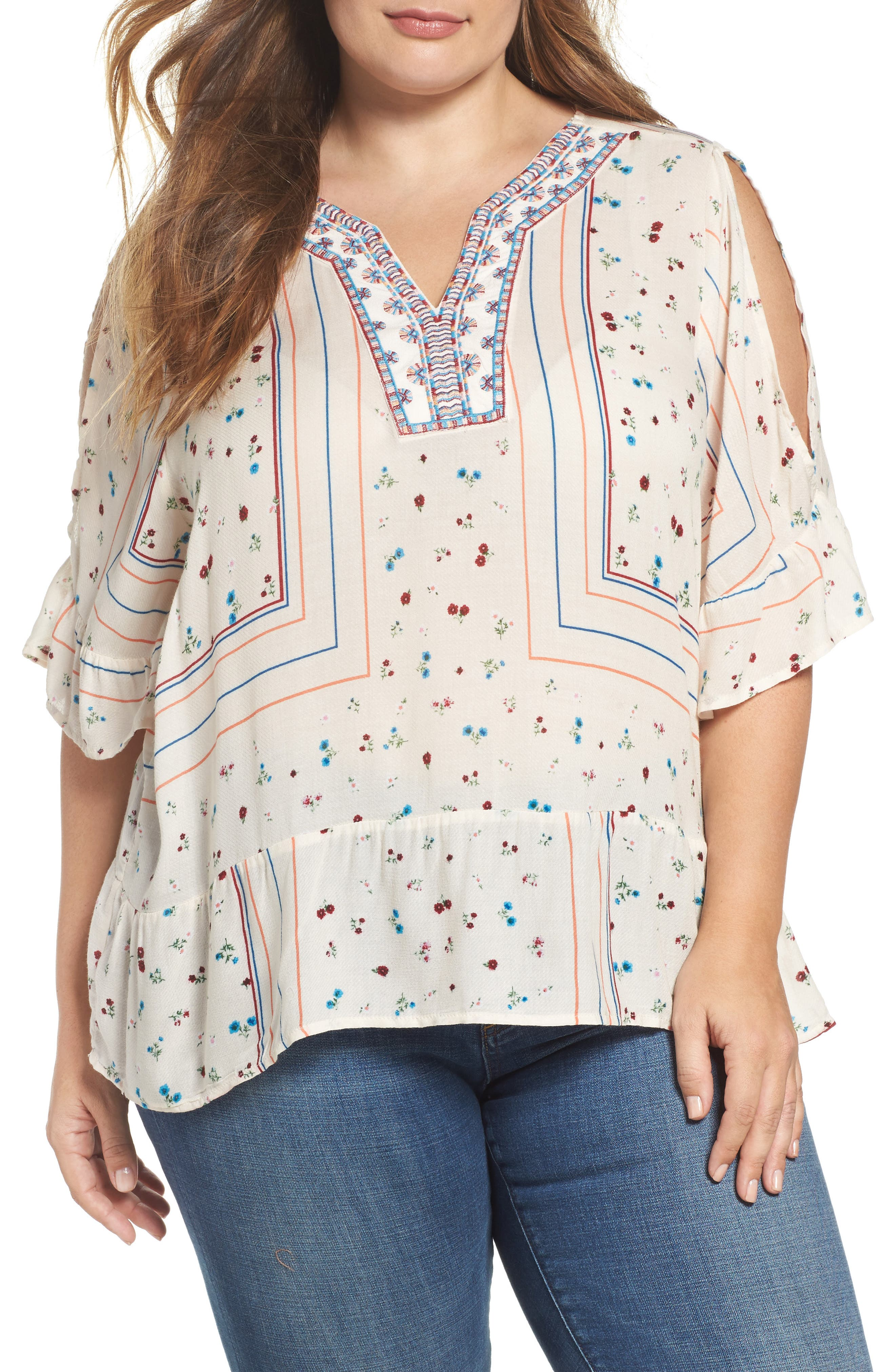 Embroidered Cold Shoulder Top,                             Main thumbnail 1, color,                             Ivory