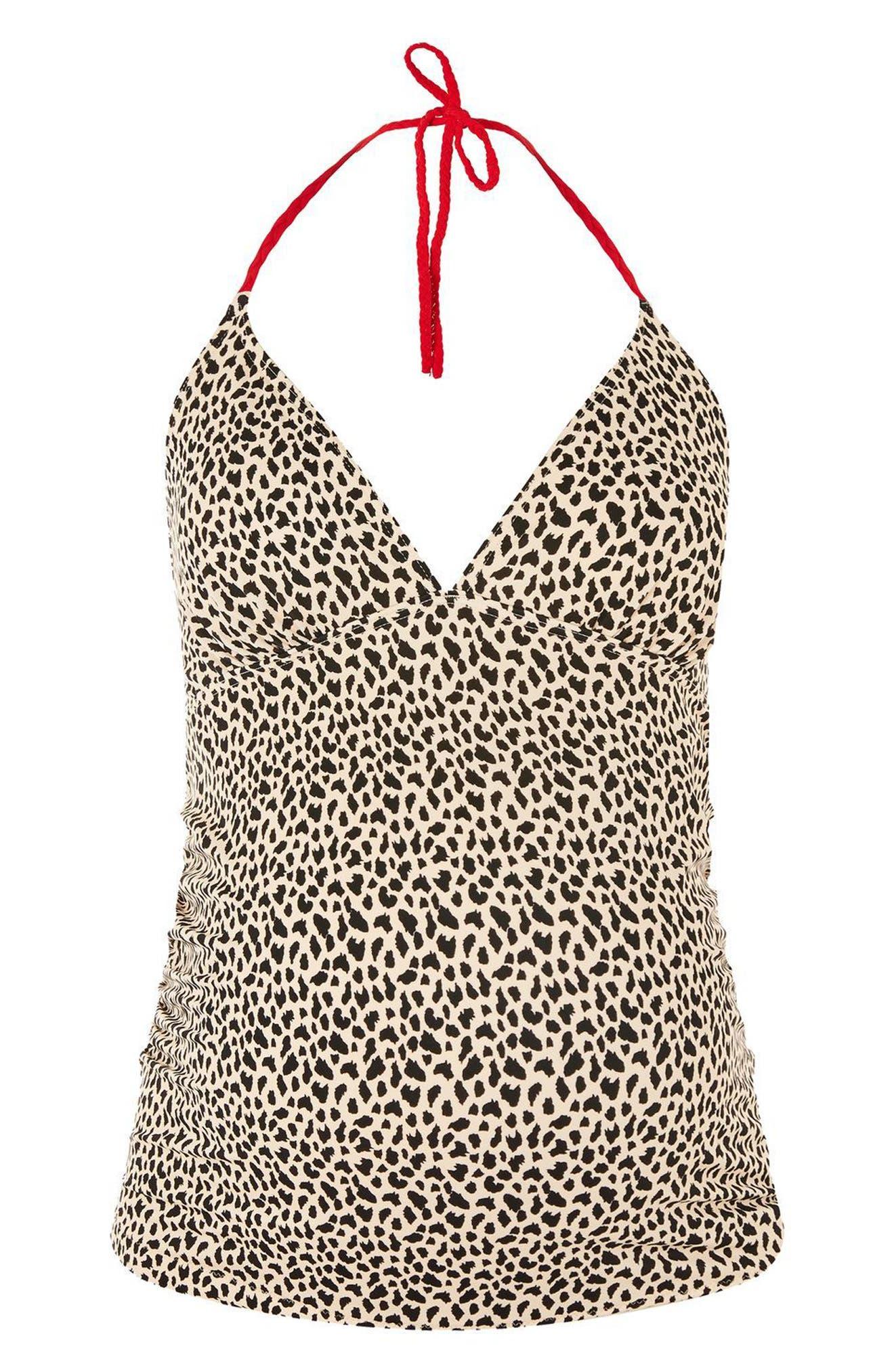 Topshop Leopard Halter Maternity Tankini Top