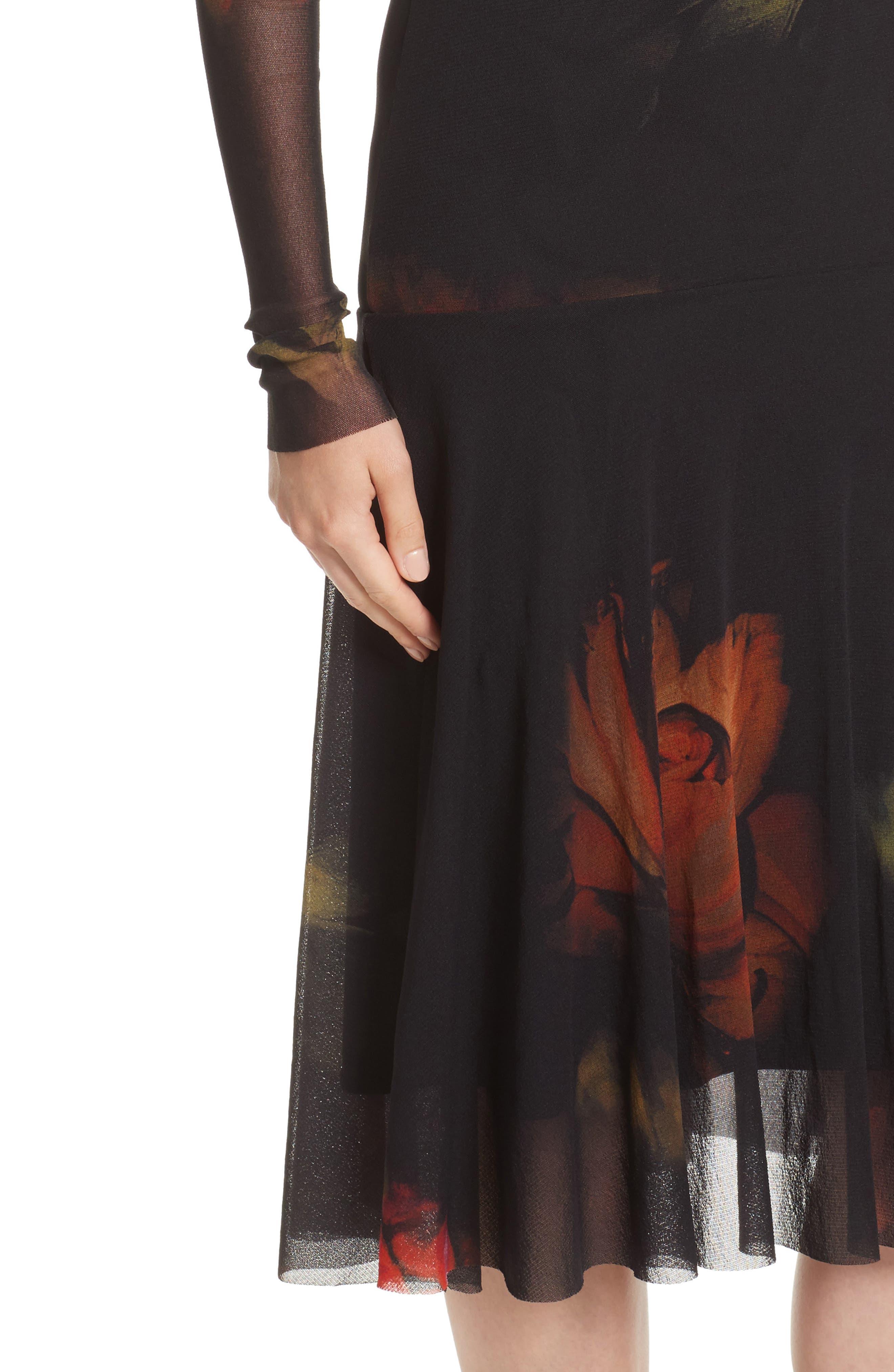 Alternate Image 4  - Fuzzi Floral Print Tulle Drop Waist Midi Dress