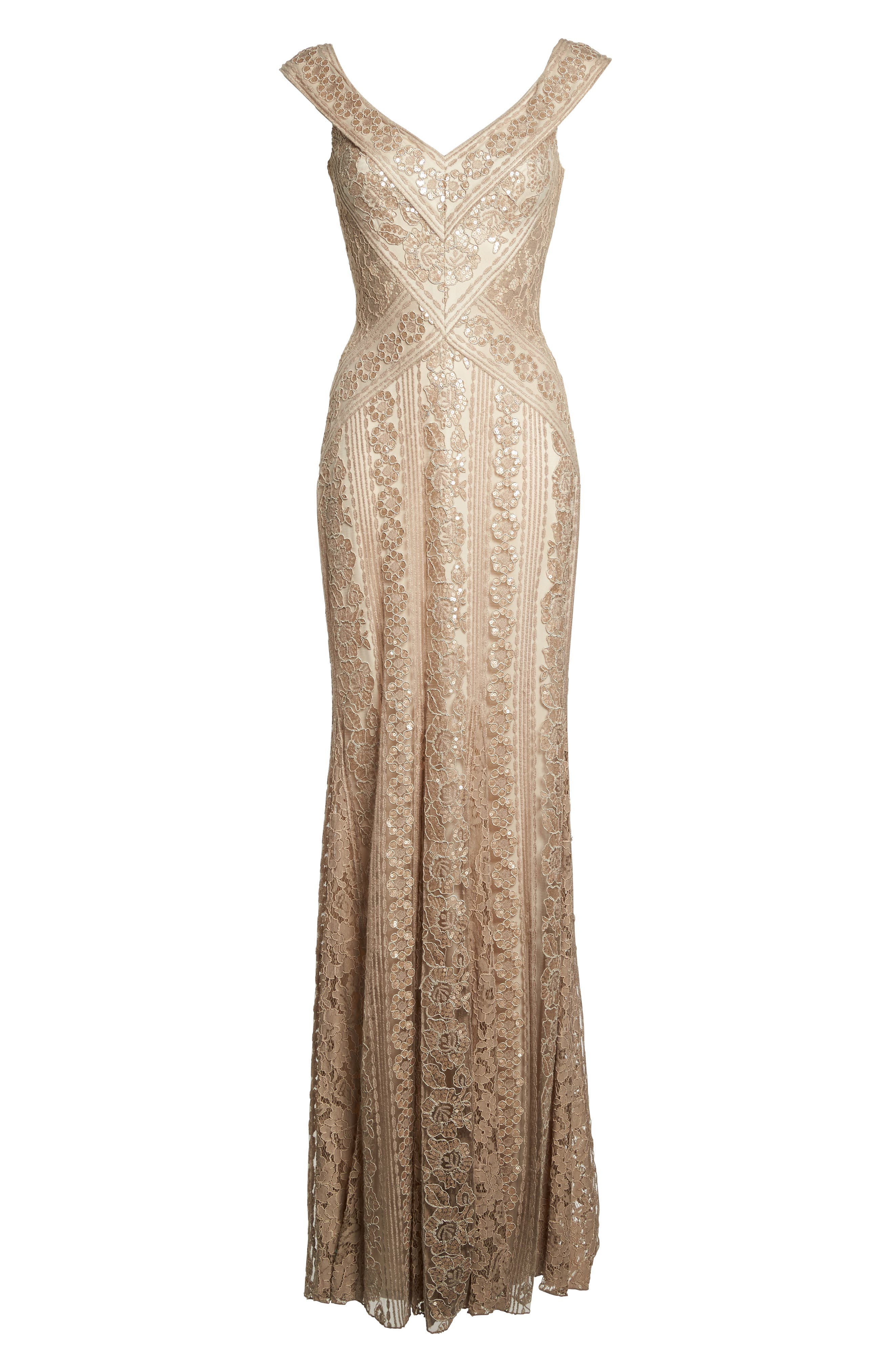 Sequin Gown,                             Alternate thumbnail 6, color,                             Champagne